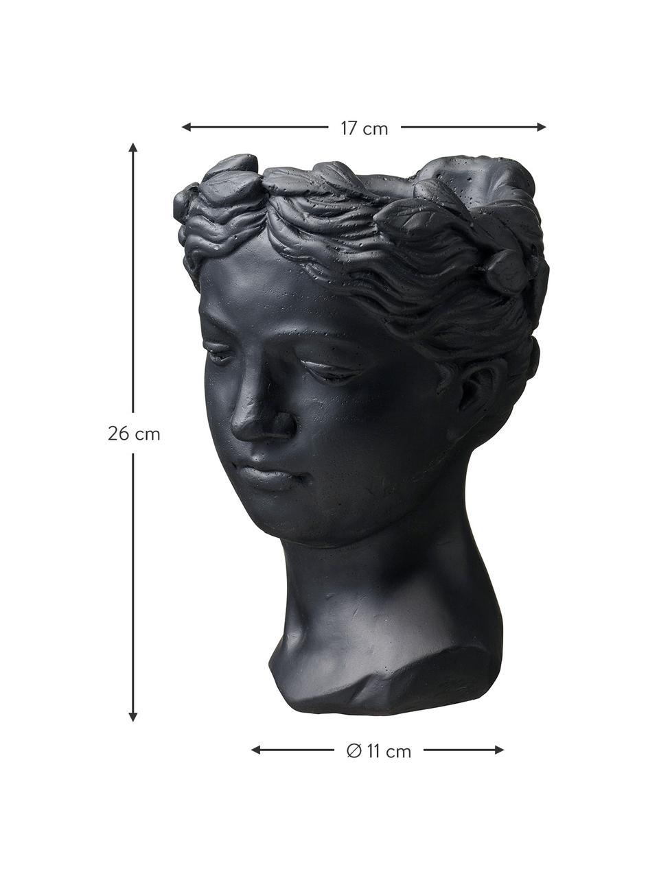 Plantenpot Head, Gelakt beton, Zwart, 17 x 26 cm