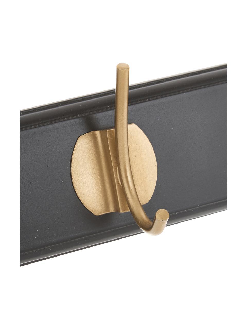 Garderobenhaken Aoife mit Metall-Haken, Leiste: Mitteldichte Holzfaserpla, Haken: Messing, Schwarz, 60 x 7 cm
