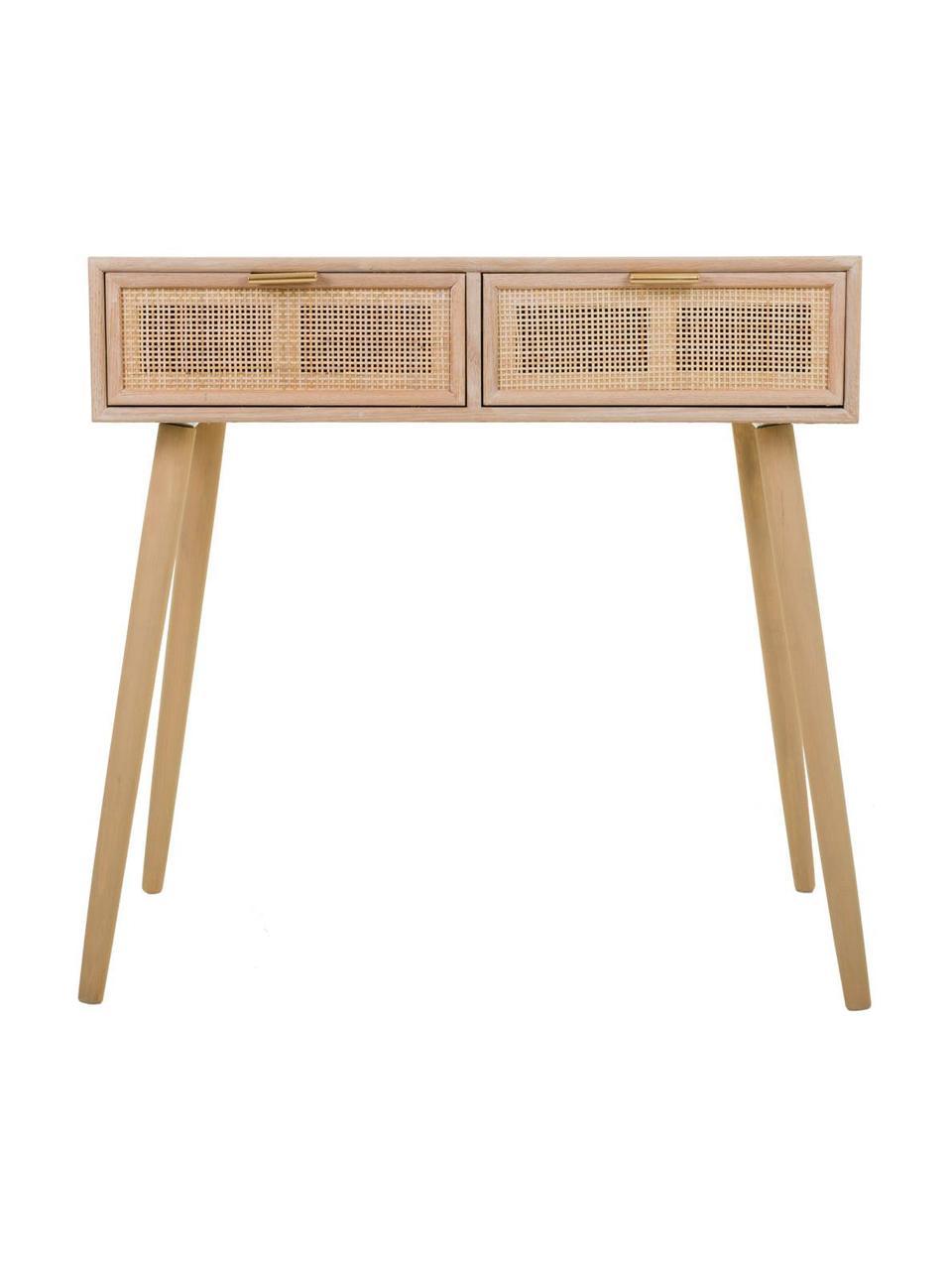 Consolle in legno Cayetana, Piedini: legno di bambù verniciato, Marrone, Larg. 80 x Alt. 79 cm