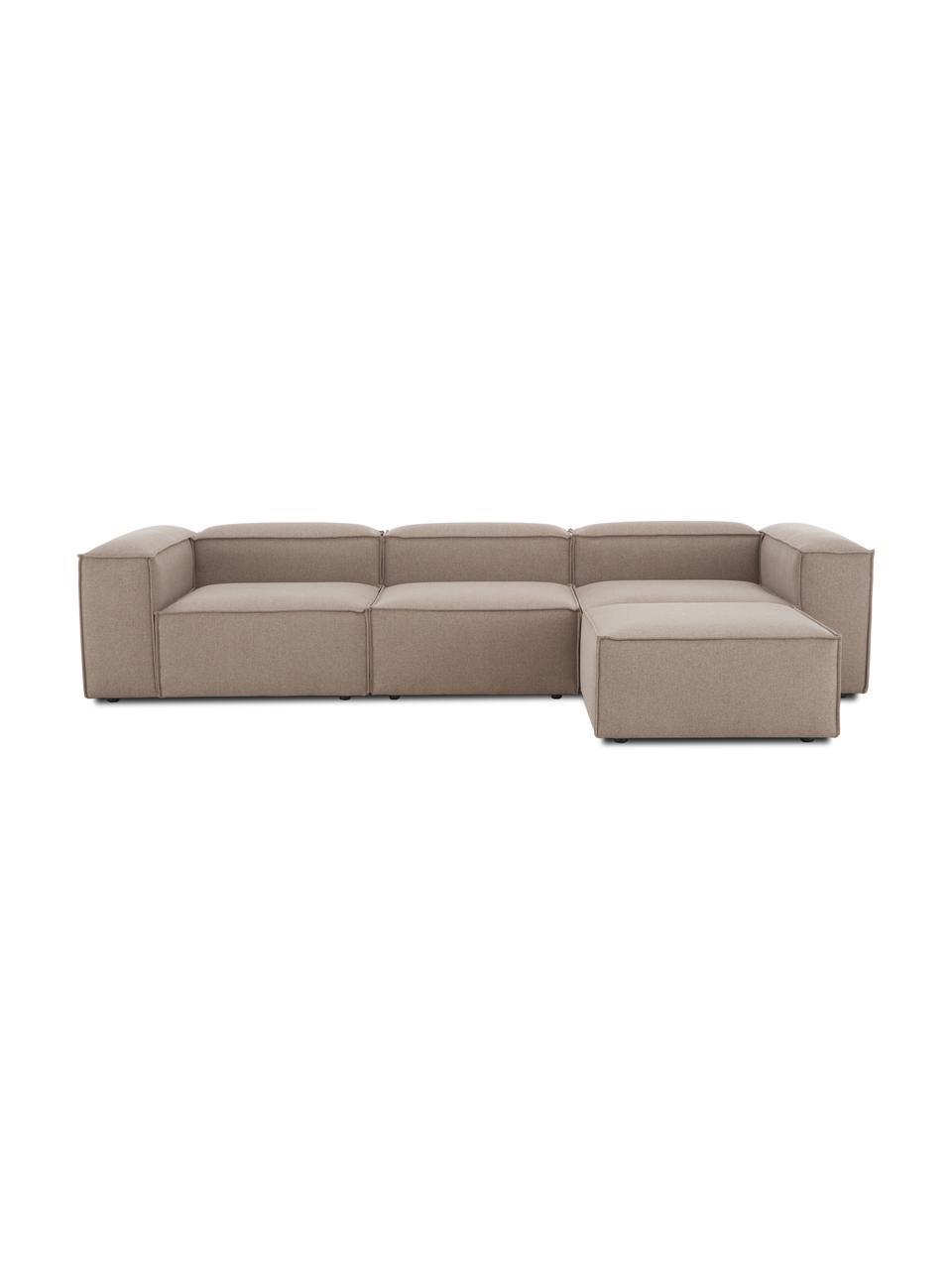 Canapé modulable 4 places tissu brun avec pouf Lennon, Tissu brun