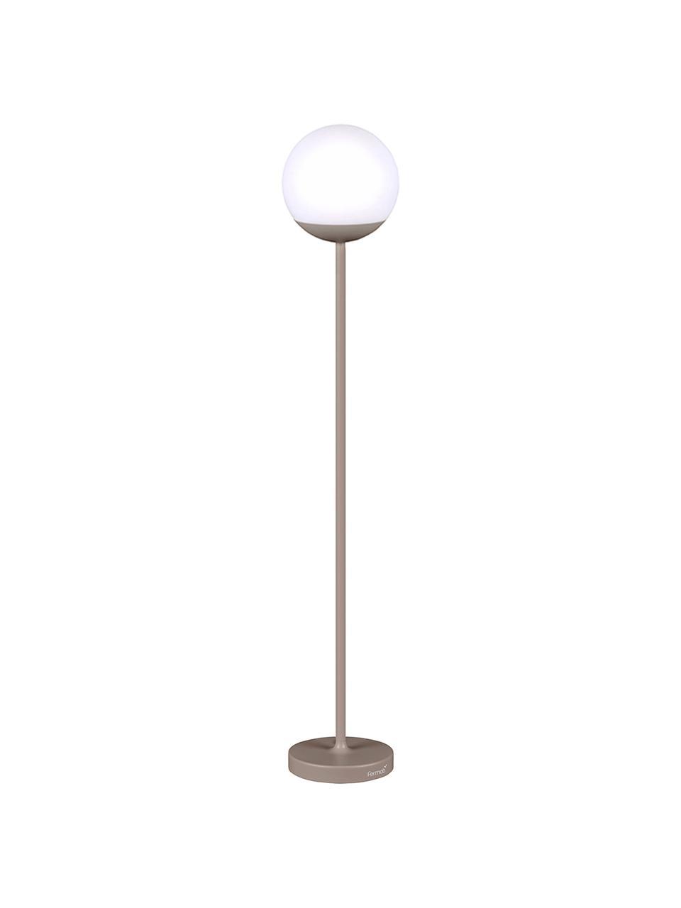 Mobile Outdoor LED-Stehlampe Mooon, Lampenfuß: Aluminium, lackiert, Lampenschirm: Kunststoff, Muskatbraun, Ø 25 x H 134 cm