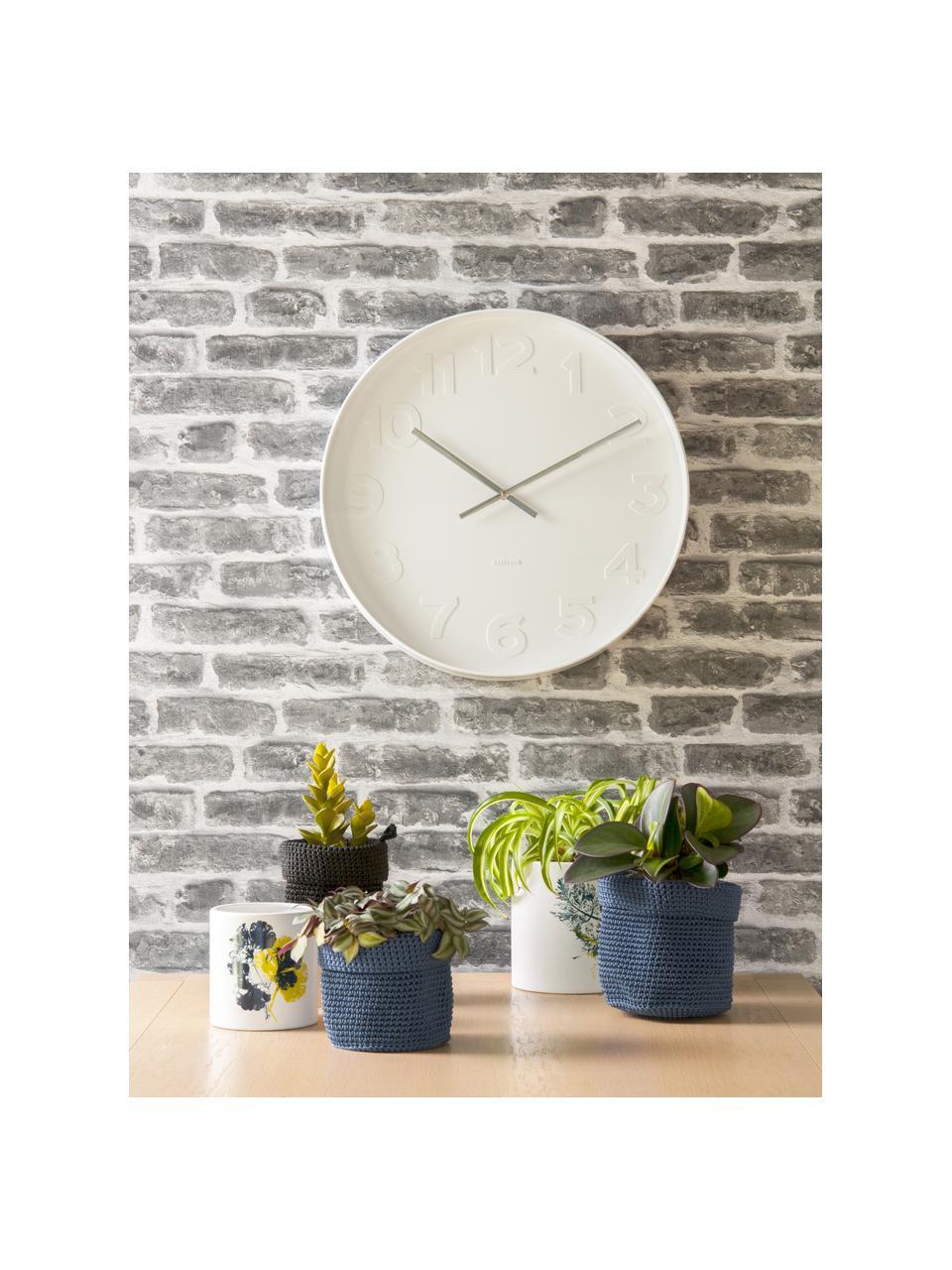 Zegar ścienny Mr. White, Rama i cyfry: biały Wskazówki: srebrny, Ø 38 cm