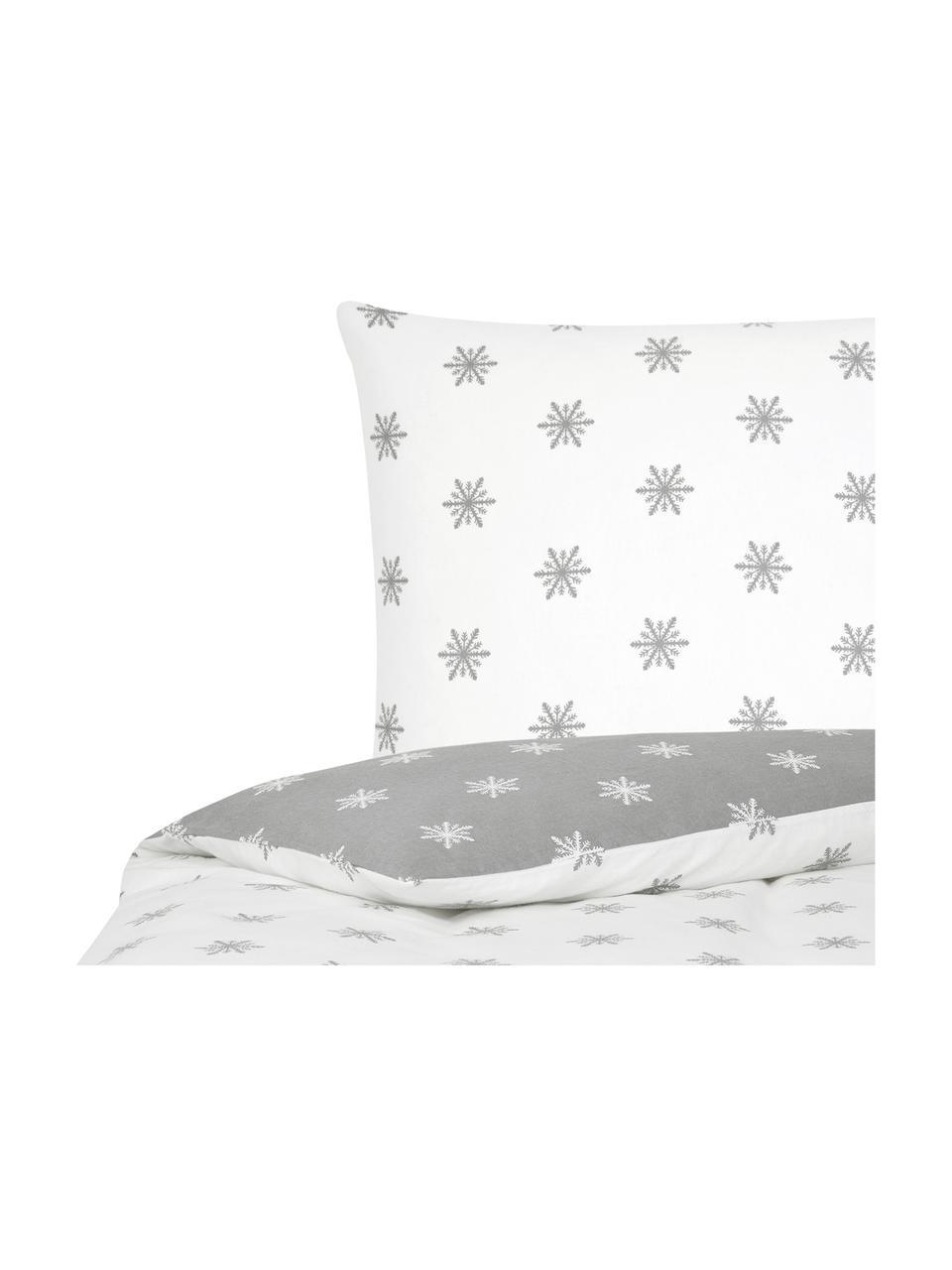 Flanell-Wendebettwäsche Alba mit Schneeflocken, Webart: Flanell Flanell ist ein k, Hellgrau, Weiß, 135 x 200 cm + 1 Kissen 80 x 80 cm