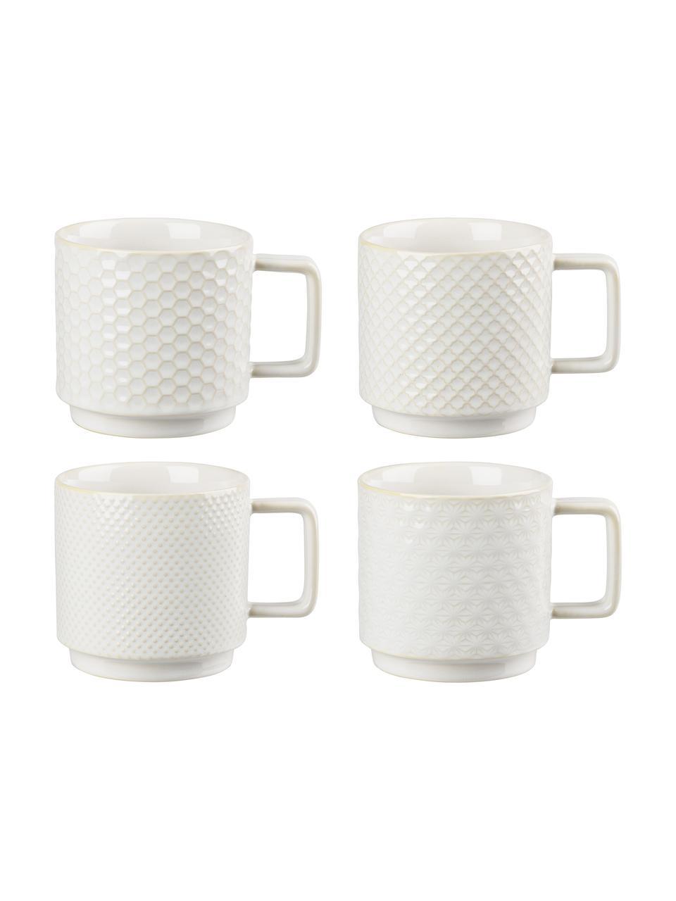 Große gemusterte Tassen Lara in verschiedenen Größen, 4er-Set, Steingut, Gebrochenes Weiß, Ø 10 x H 10 cm