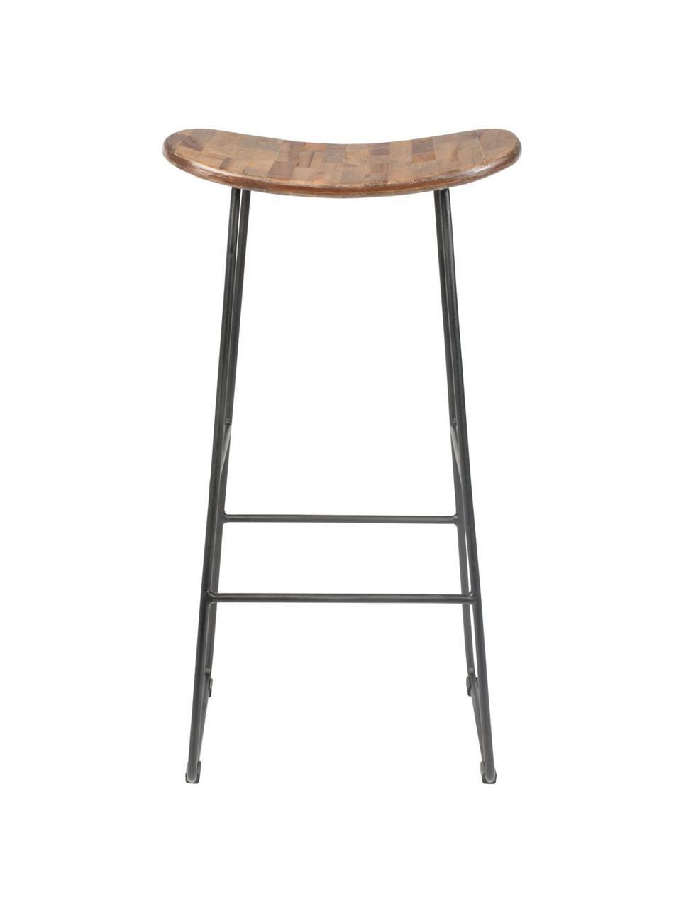 Sgabello da bar in legno di teak e metallo Tangle, Seduta: legno di teak riciclato v, Gambe: metallo verniciato a polv, Legno di teak, nero, Larg. 40 x Alt. 80 cm
