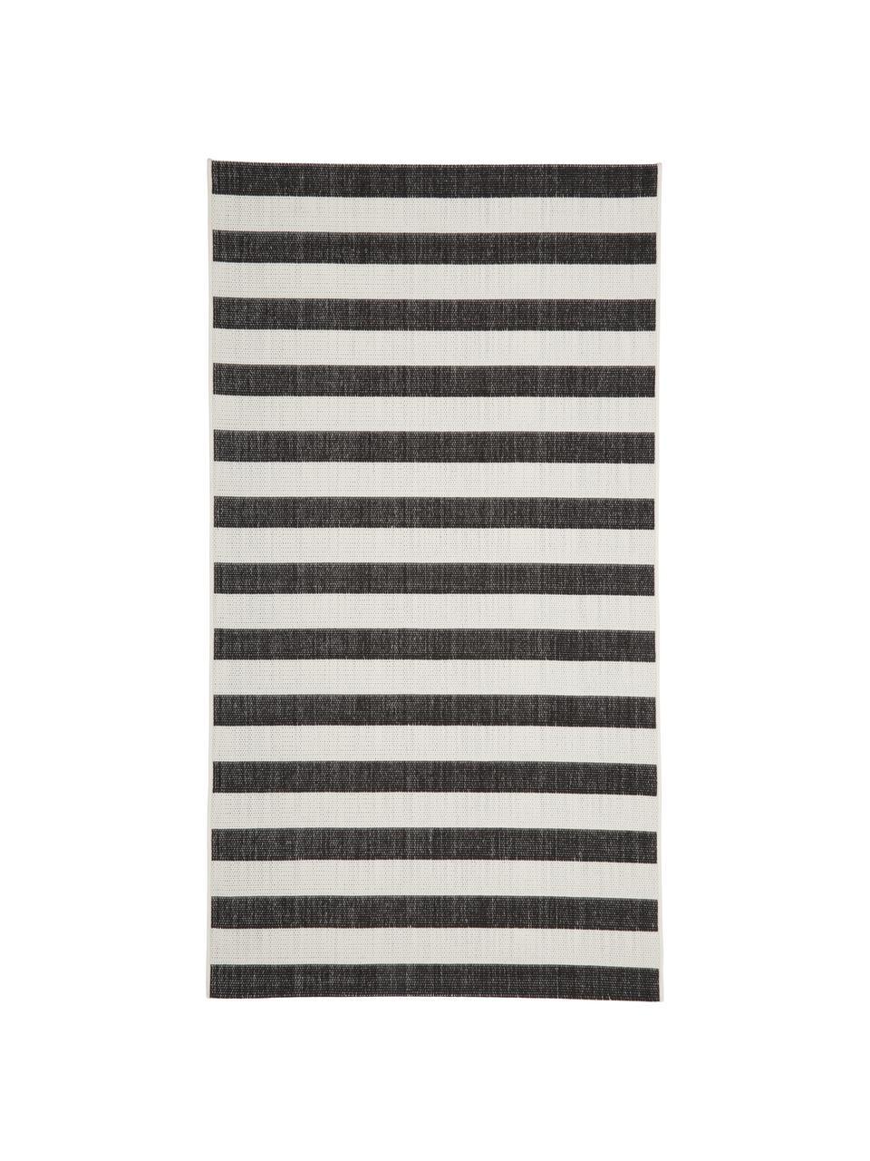Pruhovaný vnitřní avenkovní koberec Axa, Krémově bílá, černá