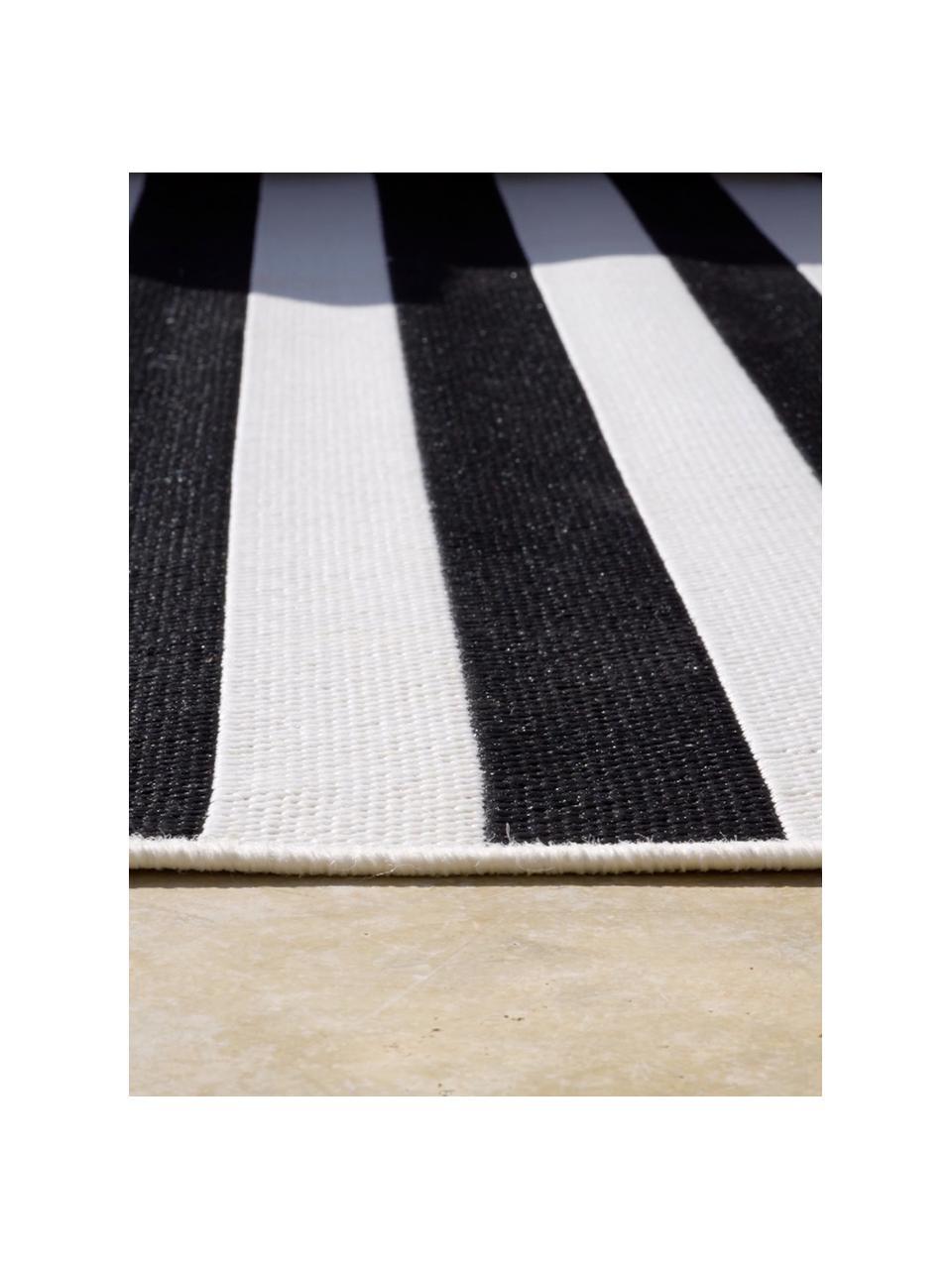 Gestreifter In- & Outdoor-Teppich Axa in Schwarz/Weiß, 86% Polypropylen, 14% Polyester, Cremeweiß, Schwarz, B 200 x L 290 cm (Größe L)