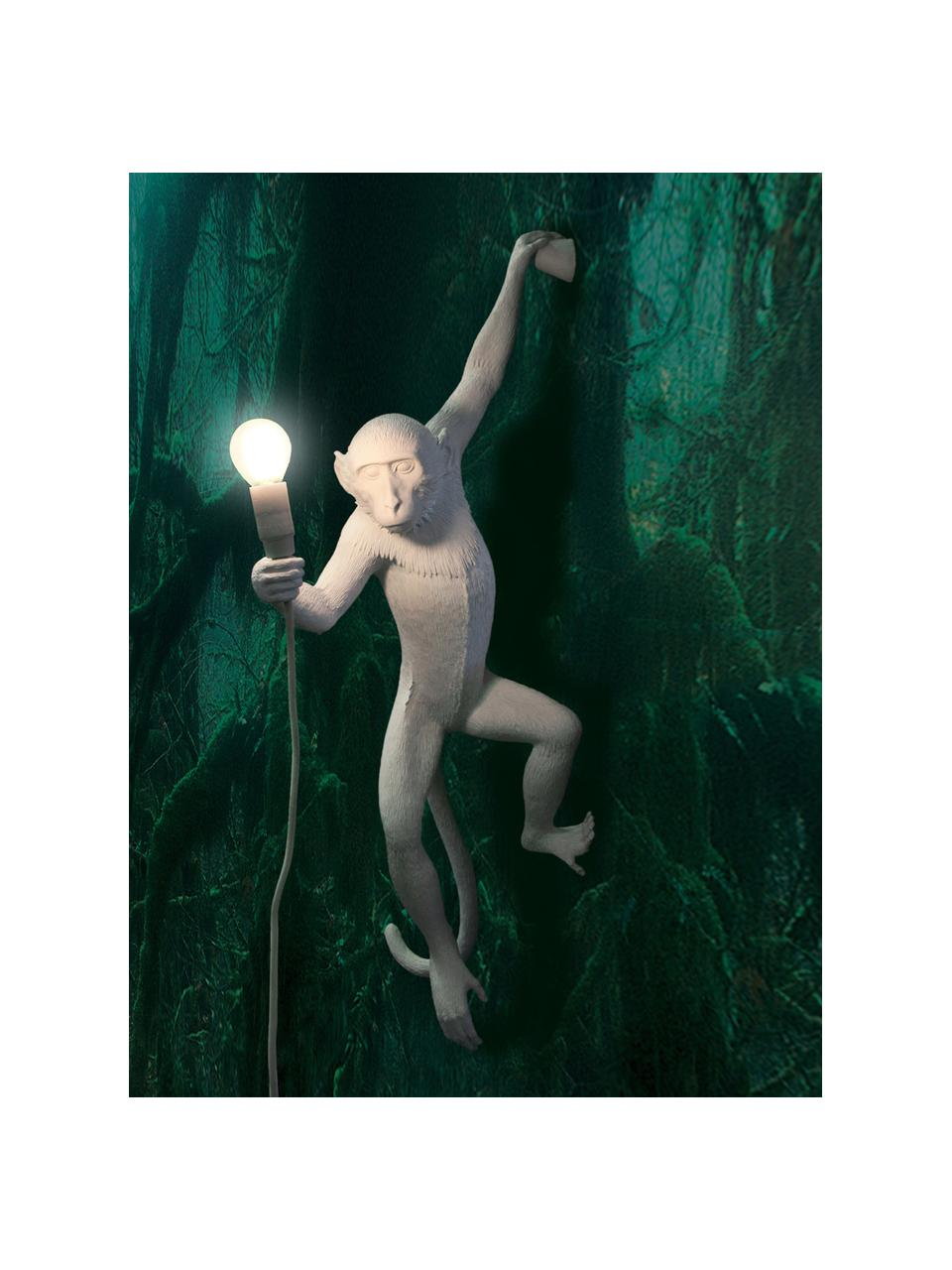 Applique da esterno con spina Monkey, Lampada: resina sintetica, Bianco, Larg. 37 x Alt. 77 cm