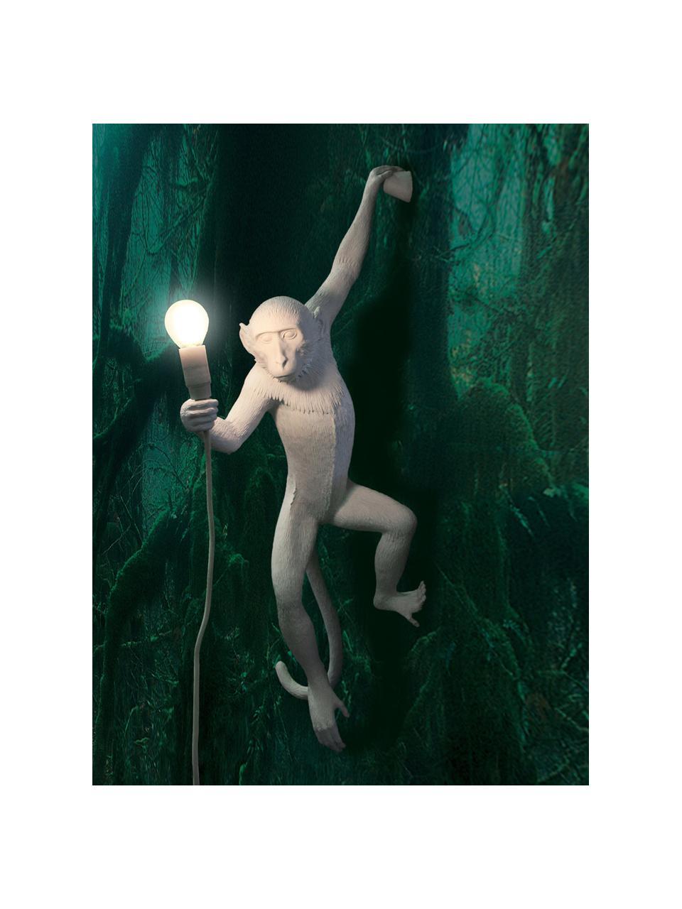 Kinkiet zewnętrzny z wtyczką Monkey, Biały, S 37 x W 77 cm