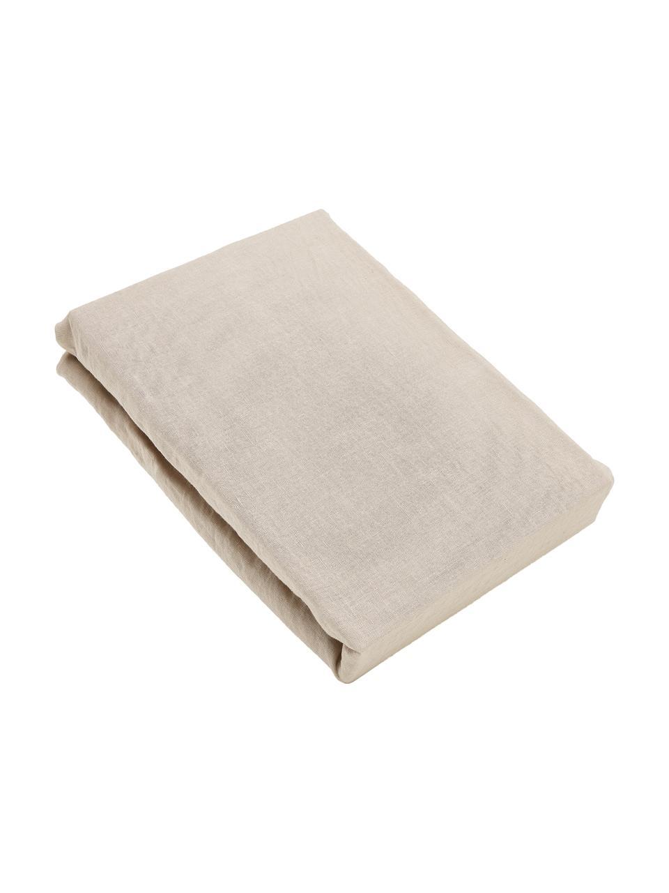 Spannbettlaken Nature in Taupe, Halbleinen (52% Leinen, 48% Baumwolle)  Fadendichte 108 TC, Standard Qualität  Halbleinen hat von Natur aus einen kernigen Griff und einen natürlichen Knitterlook, der durch den Stonewash-Effekt verstärkt wird. Es absorbiert bis zu 35% Luftfeuchtigkeit, trocknet sehr schnell und wirkt in Sommernächten angenehm kühlend. Die hohe Reißfestigkeit macht Halbleinen scheuerfest und strapazierfähig, Beige, 180 x 200 cm