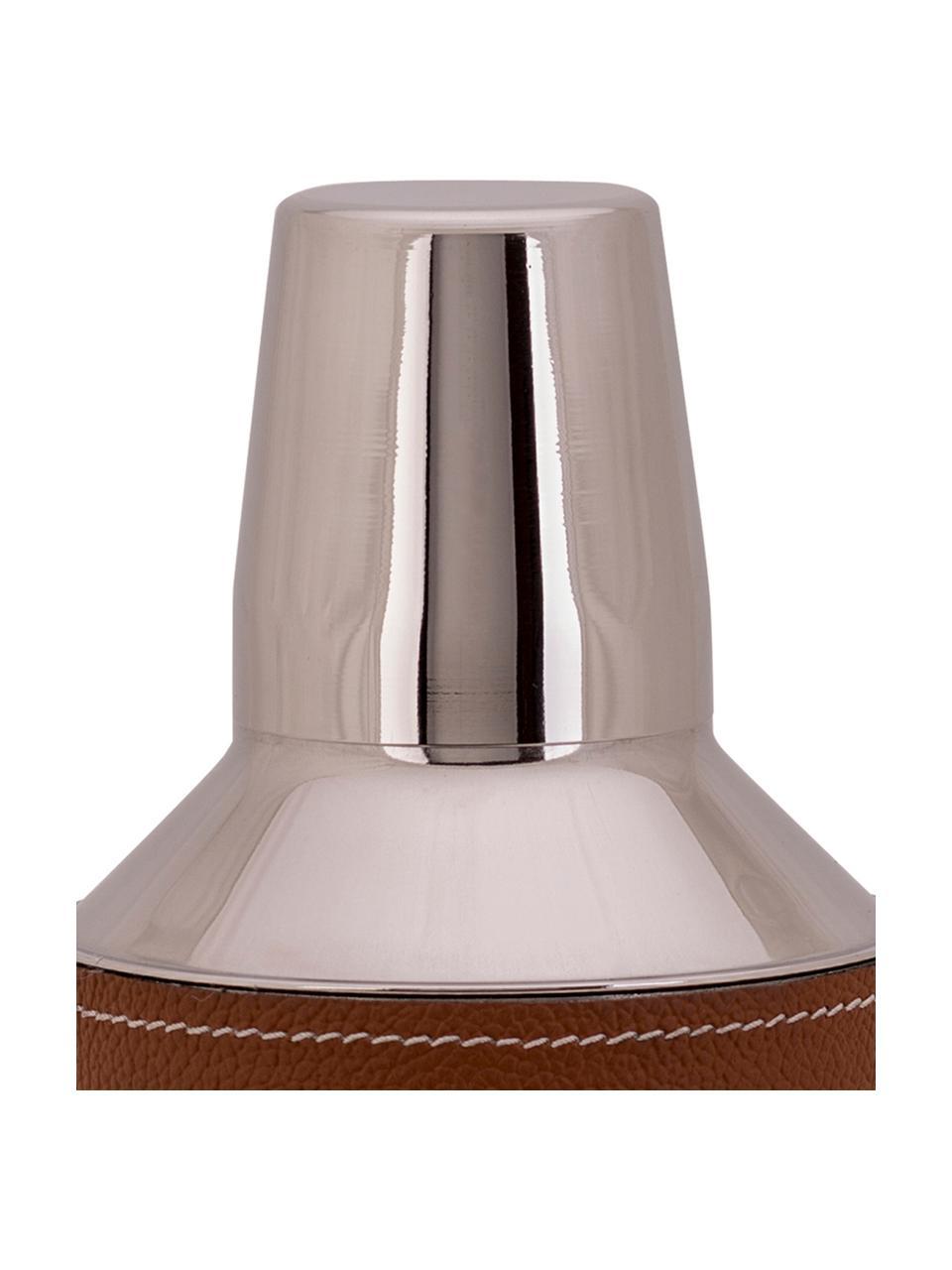 Cocktail-Shaker Lahore in Silber mit braunem Leder, Shaker: Rostfreier Stahl, Bezug: Leder, Braun, Stahl, Ø 9 x H 25 cm