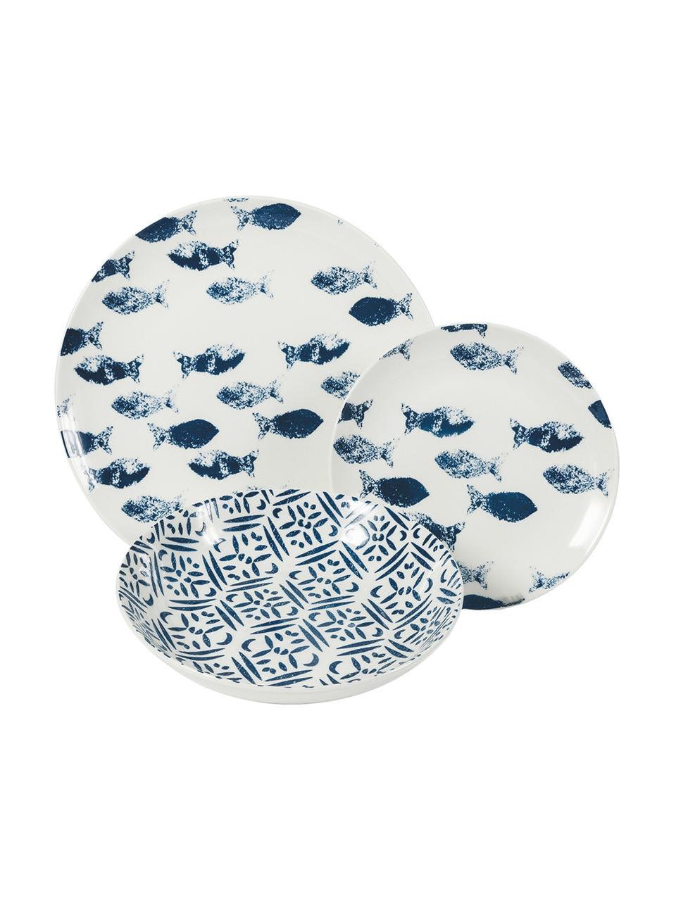 Set di piatti Playa per 6 persone 18 pz, Porcellana, Blu, bianco, Set in varie misure