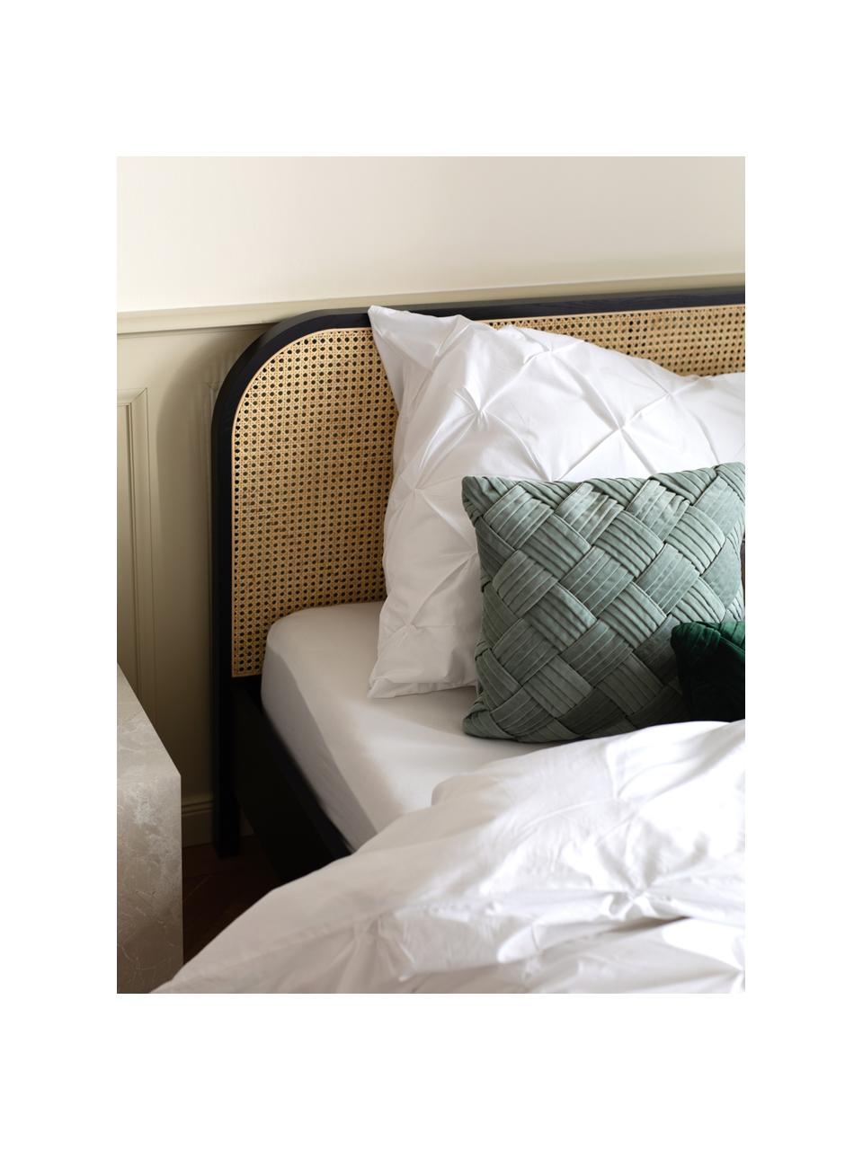 Łóżko z drewna i plecionki wiedeńskiej Jones, Nogi: lite drewno jesionowe, Czarny, S 160 x D 200 cm