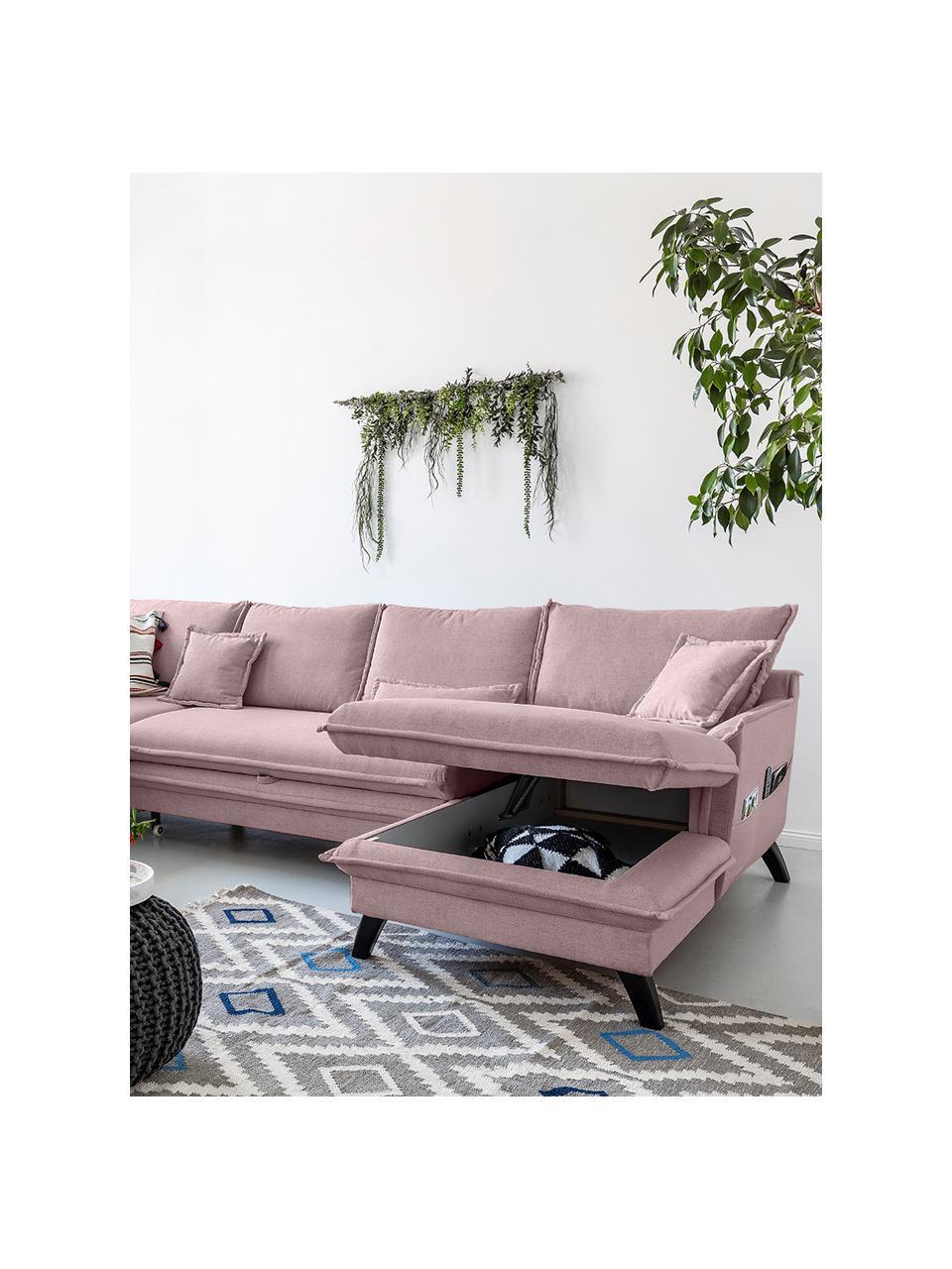 Sofa narożna z funkcją spania i miejscem do przechowywania Charming Charlie, Tapicerka: 100% poliester, w dotyku , Stelaż: drewno naturalne, płyta w, Brudny różowy, S 302 x G 200 cm