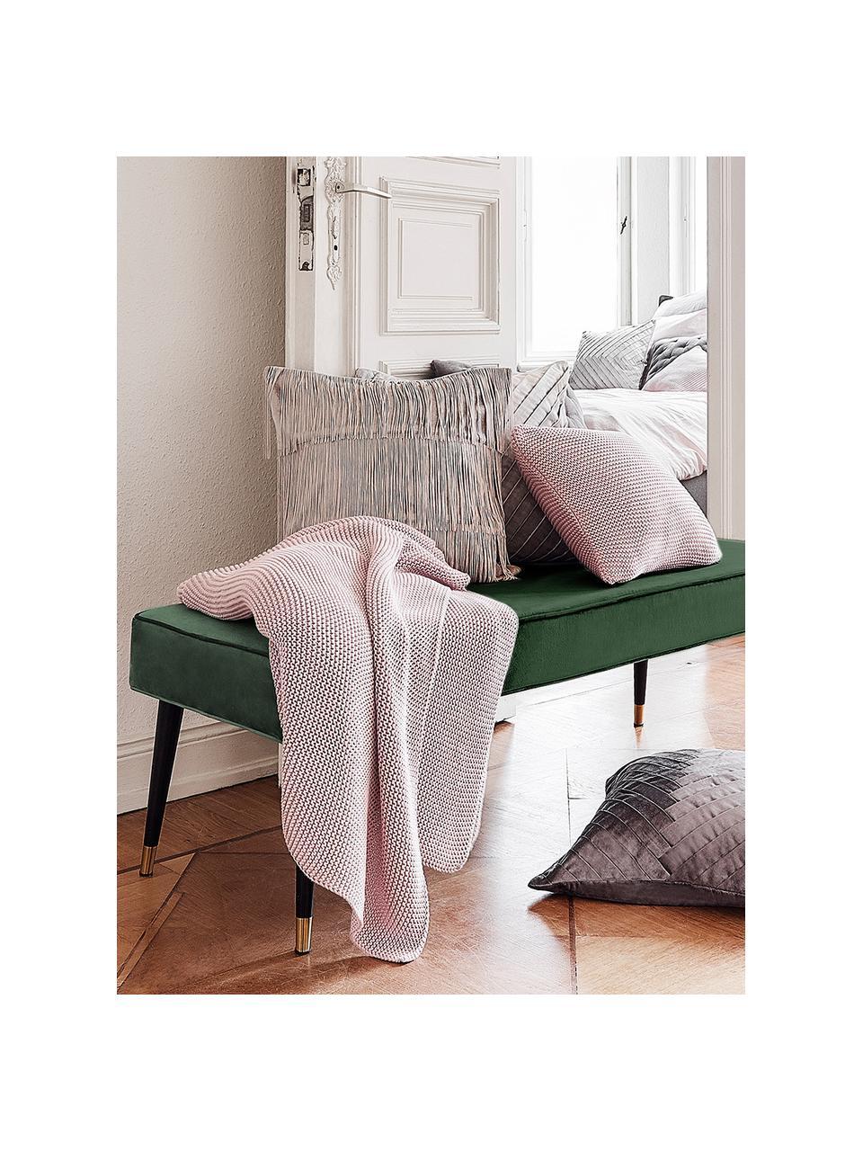 Samt-Sitzbank Beverly, Bezug: Samt (Polyester) Der Bezu, Gestell: Eukalyptusholz, Beine: Metall, pulverbeschichtet, Dunkelgrün, 140 x 46 cm