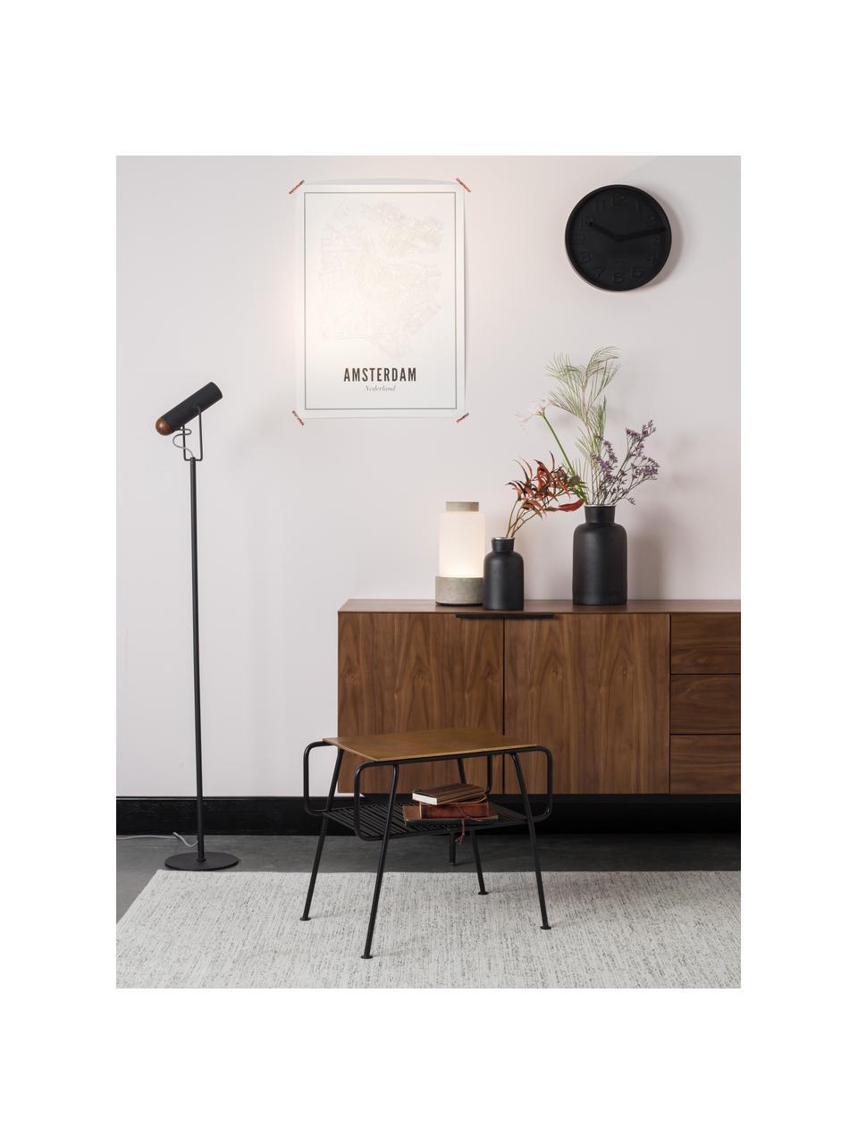 Sideboard Travis mit Nussbaumfurnier im Retro Design, Korpus: Mitteldichte Holzfaserpla, Korpus: Walnussbraun Griffe, Rahmen und Füsse: Schwarz, 180 x 71 cm