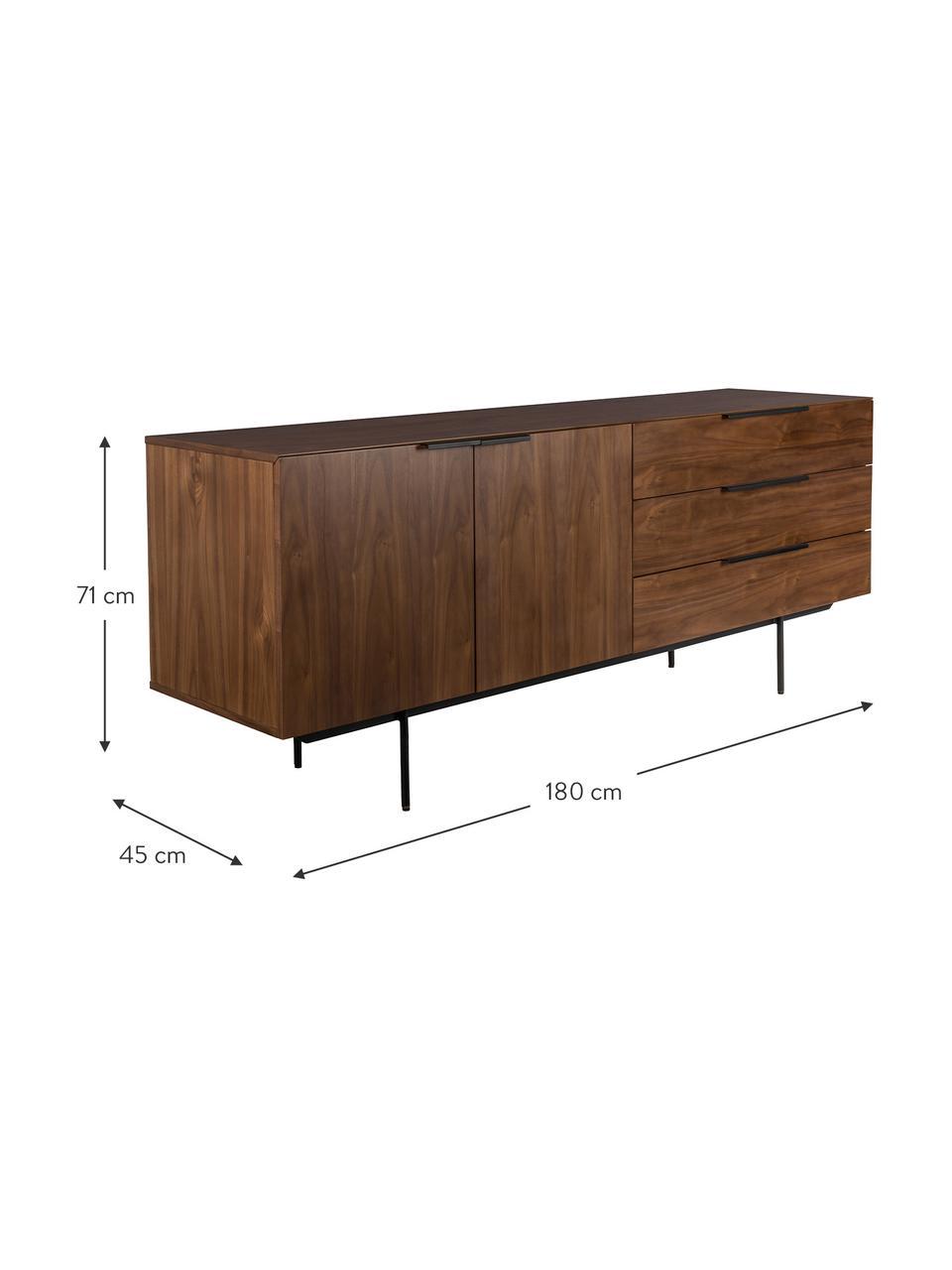 Sideboard Travis mit Nussbaumfurnier im Retro Design, Korpus: Mitteldichte Holzfaserpla, Korpus: Walnussbraun Griffe, Rahmen und Füße: Schwarz, 180 x 71 cm