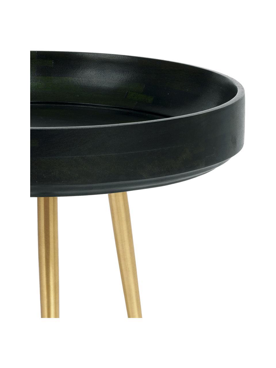 Petite table d'appoint manguier Bowl Table, Vert foncé, couleur laitonnée