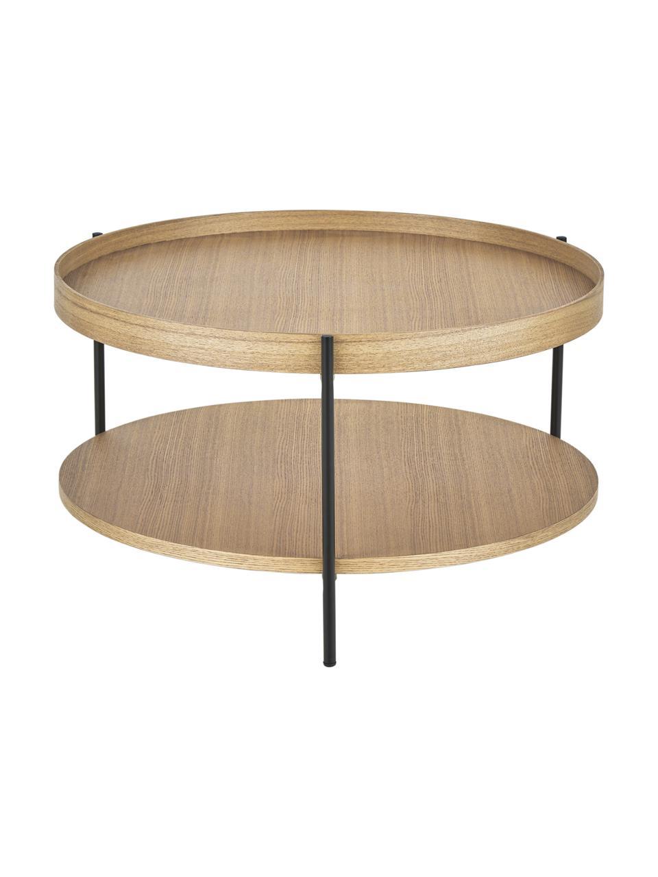 Holz-Couchtisch Renee mit Eschenholzfurnier, Gestell: Metall, pulverbeschichtet, Eschenholz, Ø 69 x H 39 cm