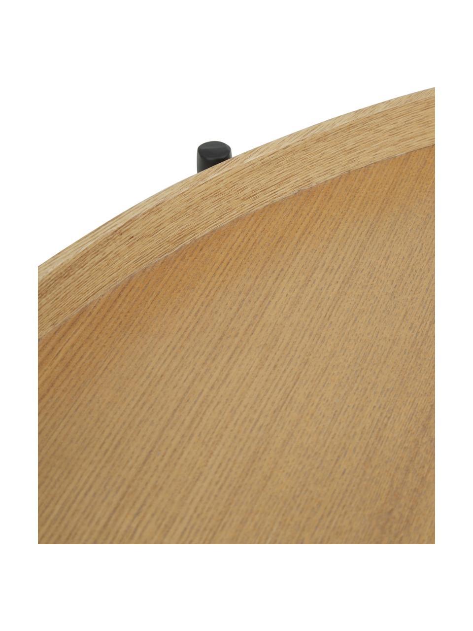 Tavolino da salotto con piano d'appoggio Renee, Ripiani: pannello di fibra a media, Struttura: metallo, verniciato a pol, Ripiani: legno di quercia Struttura: nero opaco, Ø 69 x Alt. 39 cm
