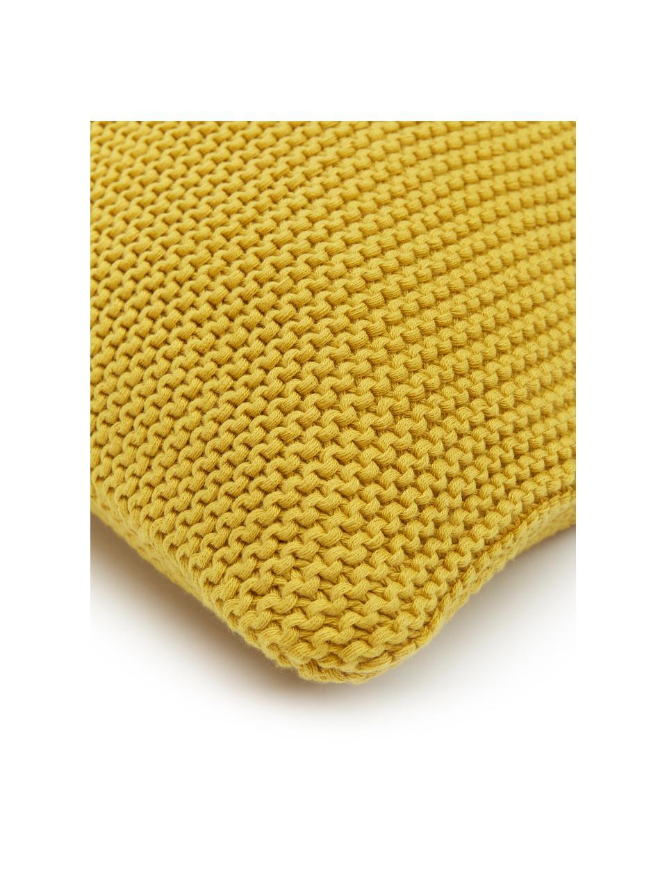 Strick-Kissenhülle Adalyn aus Bio-Baumwolle in Senfgelb, 100% Bio-Baumwolle, GOTS-zertifiziert, Gelb, 30 x 50 cm