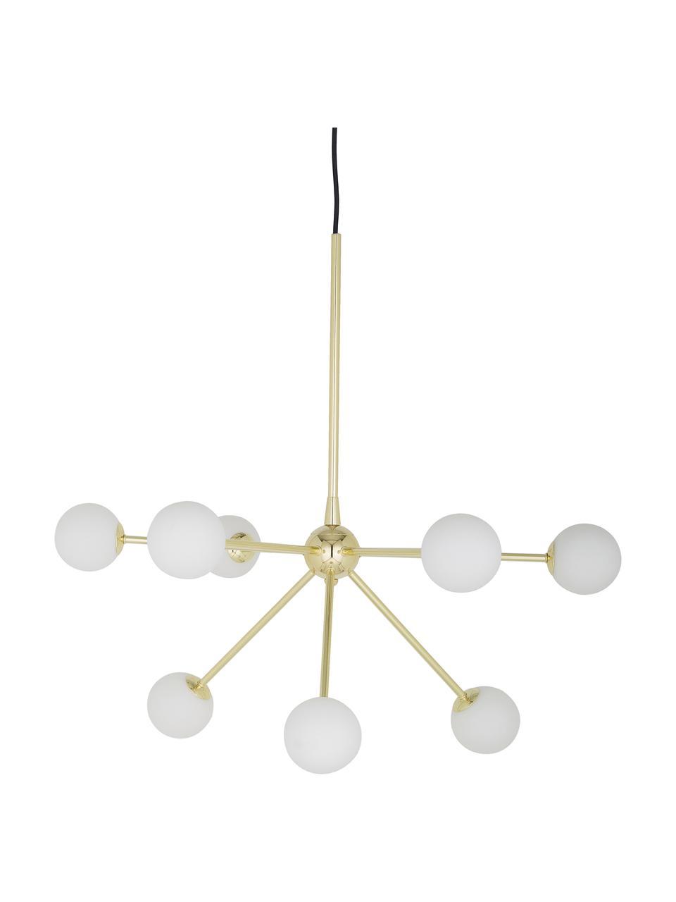 Lampada a sospensione dorata Space, Paralume: vetro opale, Baldacchino: metallo ottonato, Dorato, Larg. 81 x Prof. 71 cm