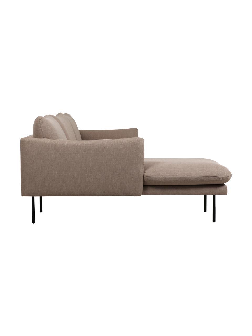 Canapé d'angle taupe avec pieds en métal Moby, Tissu taupe