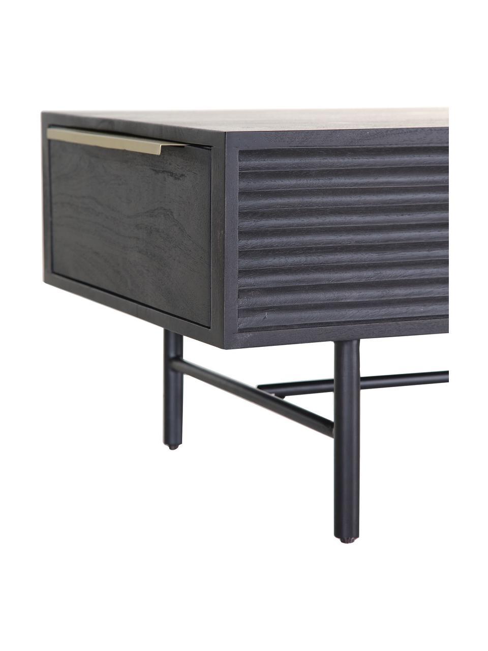 Mesa de centro de madera de acacia Mamba, Estructura: madera de acacia pintada, Patas: metal pintado, Negro, An 124 x Al 40 cm