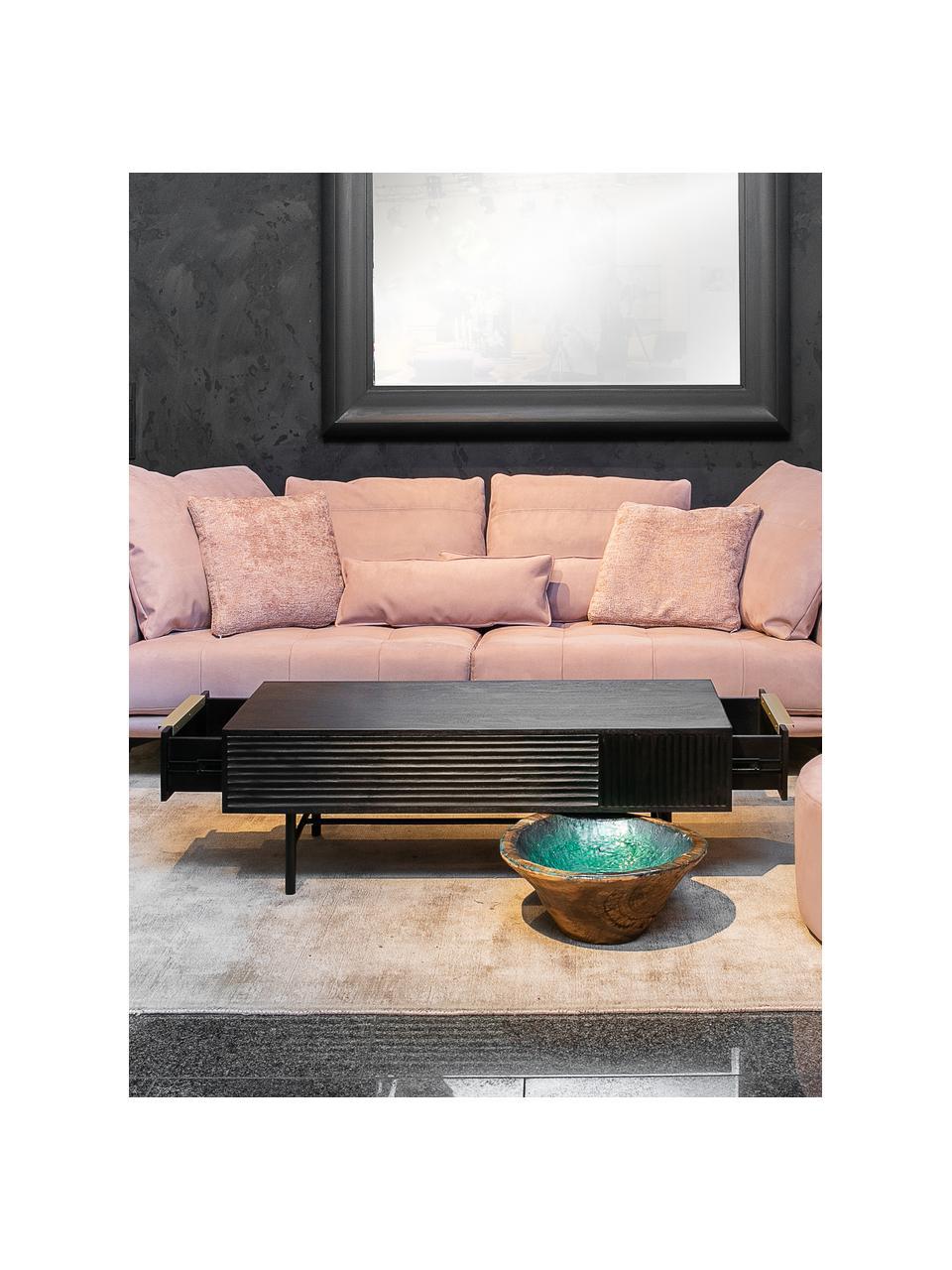 Stolik kawowy z drewna akacjowego z ryflowanym frontem Mamba, Korpus: drewno akacjowe lakierowa, Nogi: metal lakierowany, Czarny, S 124 x W 40 cm