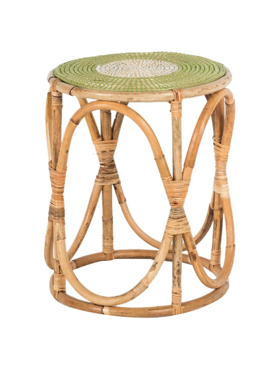 Tavolino in rattan beige/verde Dennise, Gambe: rattan, Beige, verde, bianco, Ø 41 x Alt. 50 cm