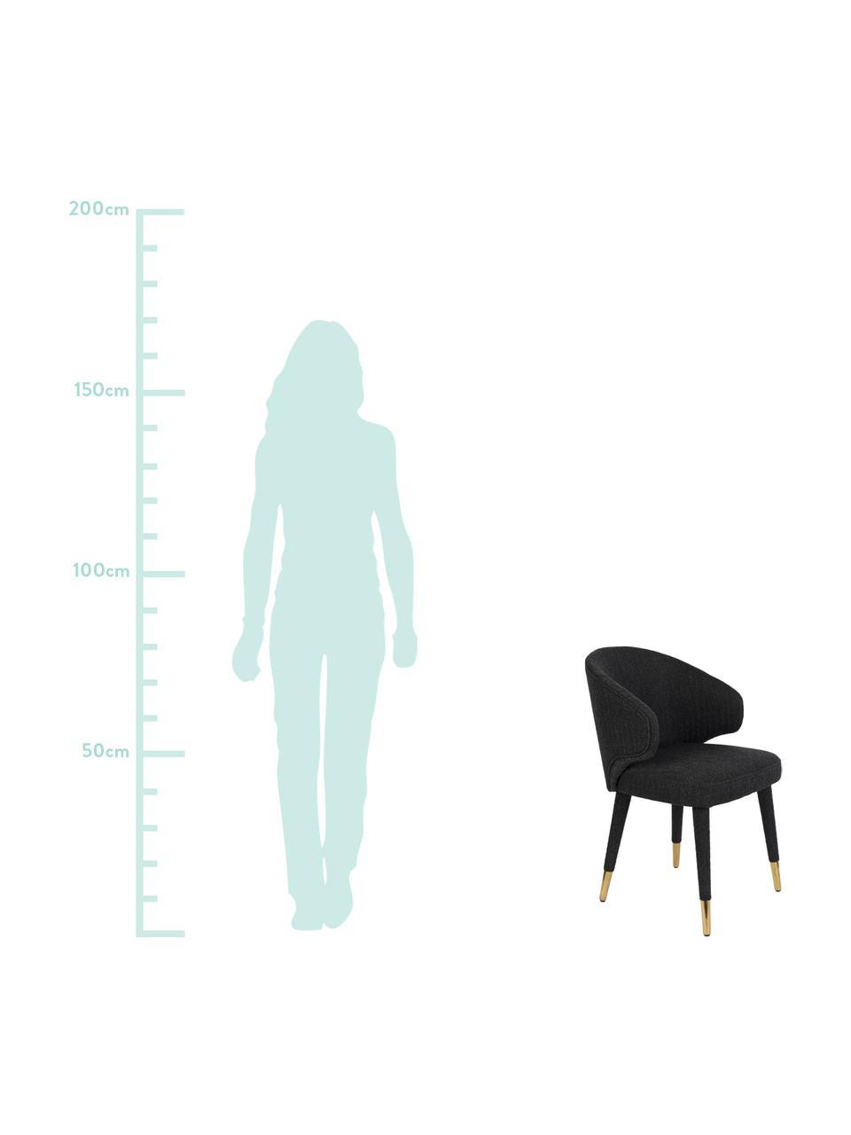 Krzesło tapicerowane Lunar, Tapicerka: 100% aksamit poliestrowy , Stelaż: drewno warstwowe, drewno , Nogi: metal malowany proszkowo, Czarny, S 52 x G 59 cm