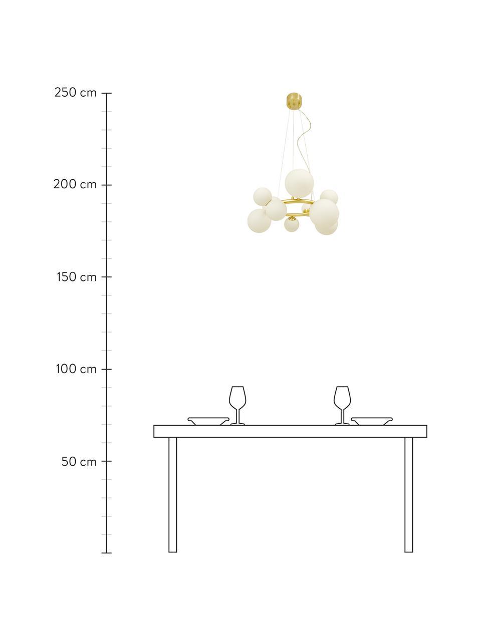 Kulaté závěsné svítidlo z opálového skla Molekyl, Zlatá, bílá