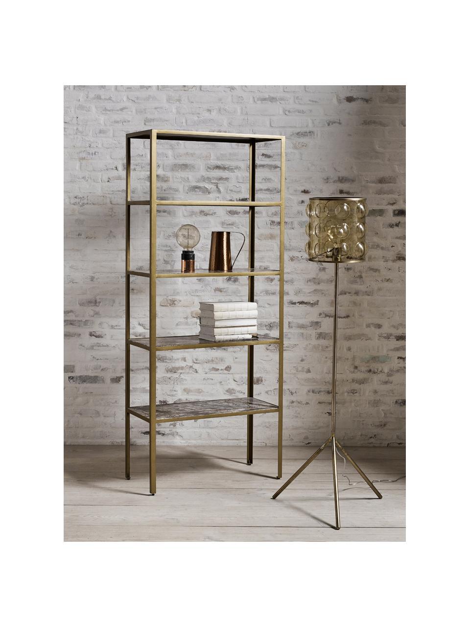 Regał z marmuru Jungle, Stelaż: wewnątrz otwarte, metalow, Odcienie złotego, brązowy, S 75 x W 180 cm