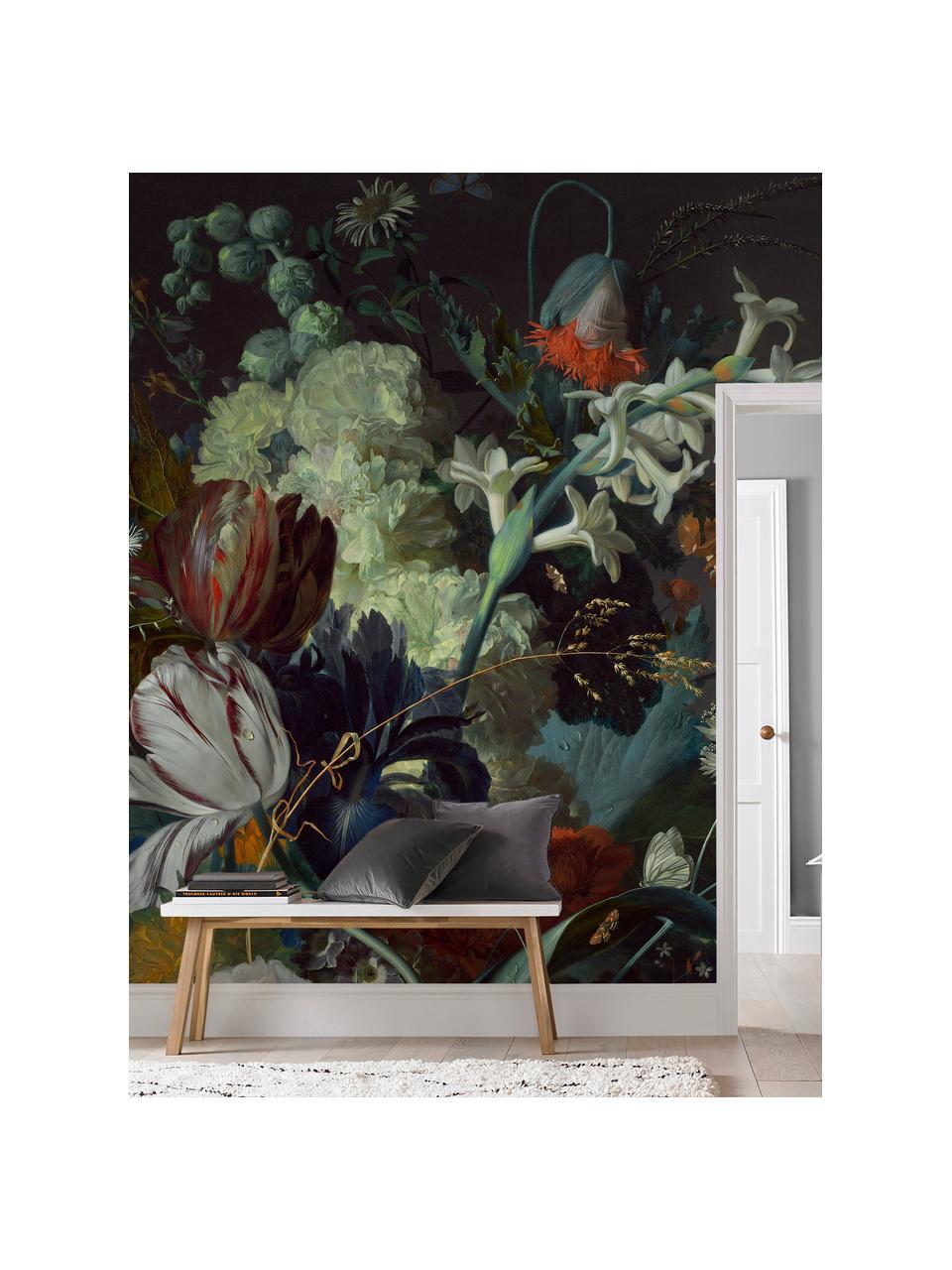 Adesivo murale Oil Painted Flowers Dark, Tessuto non tessuto, Multicolore, Larg. 300 x Alt. 280 cm