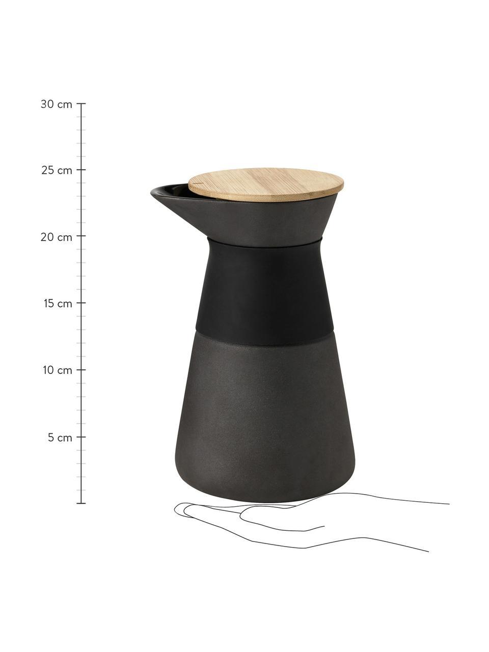 Kaffeebereiter Theo in Schwarz matt, Deckel: Bambusholz, Griff: Wärmeisolierendes Silikon, Schwarz, 600 ml