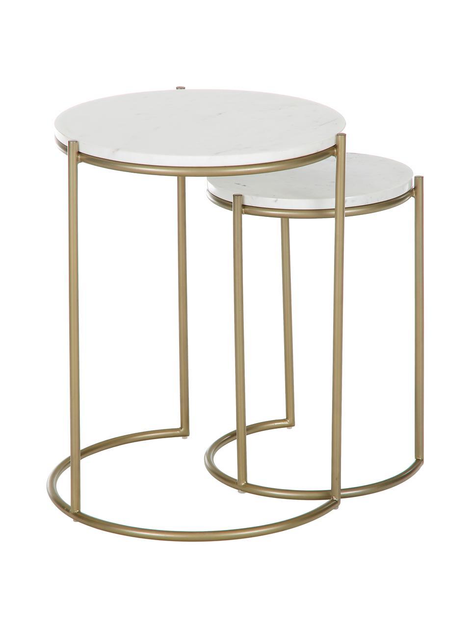 Tables gigognes en marbre Ella, 2élém., Plateau: marbre blanc Structure: couleur dorée, mat