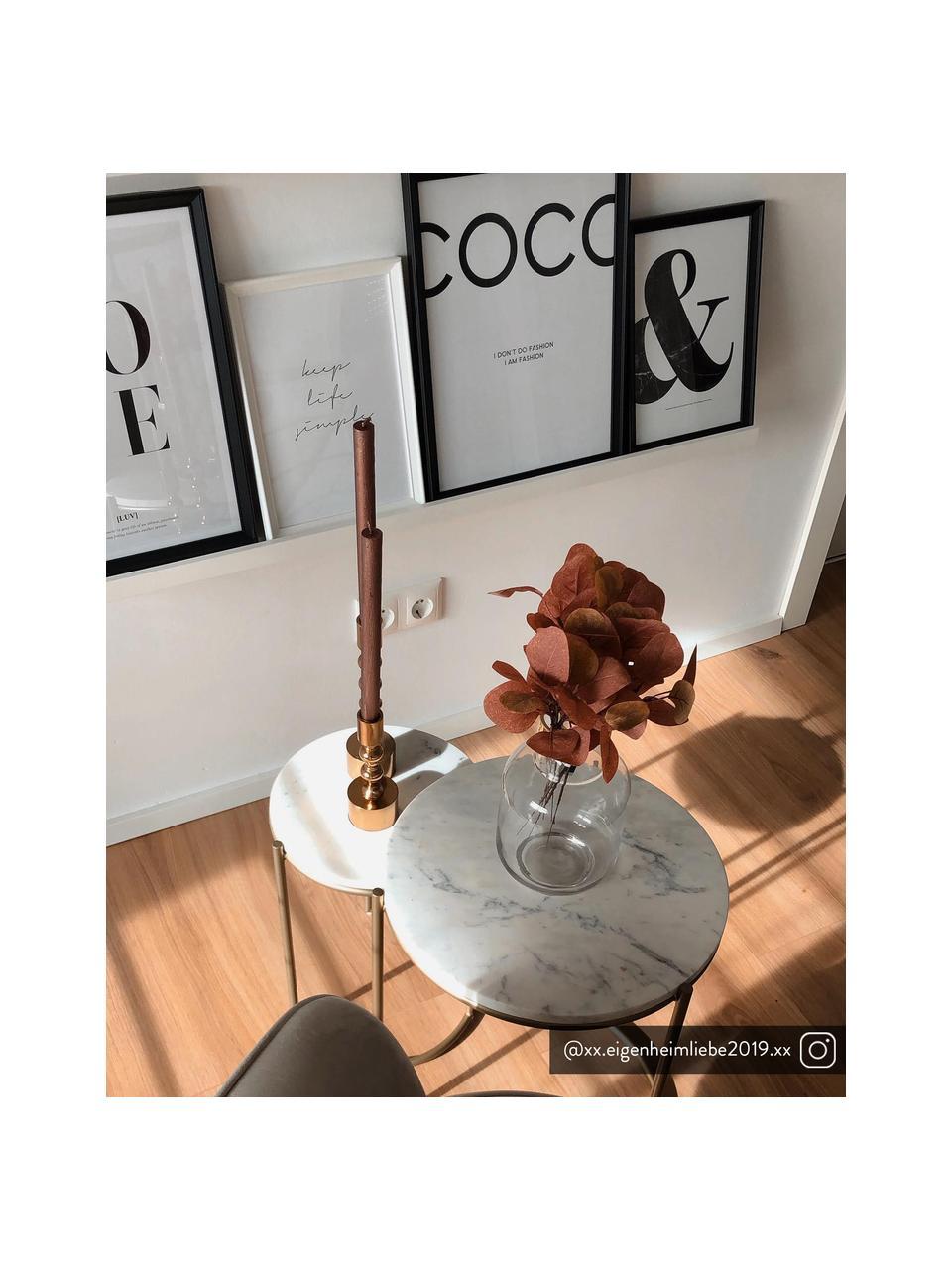Set 2 tavolini con piano in marmo Ella, Ripiani: marmo, Struttura: metallo verniciato a polv, Piani d'appoggio: marmo bianco Struttura: dorato opaco, Set in varie misure