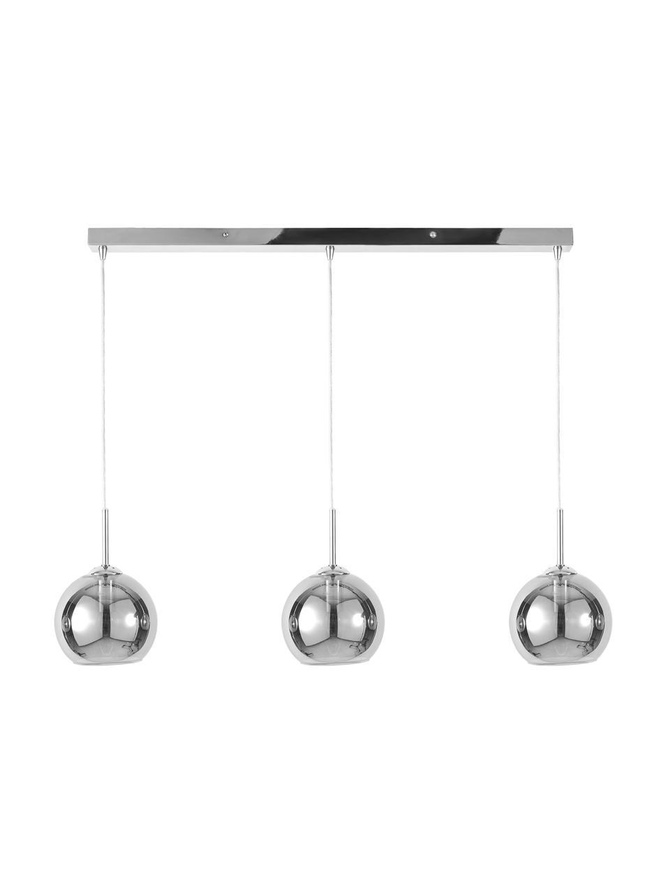 Große Pendelleuchte Hamilton in Chrom, Gestell: Metall, verchromt, Baldachin: Metall, verchromt, Grau, 81 x 13 cm