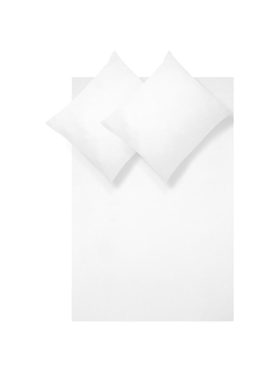 Dekbedovertrek met satijnstrepen Stella, Weeftechniek: satijn Draaddichtheid 250, Wit, 240 x 220 cm + 2 kussen 60 x 70 cm