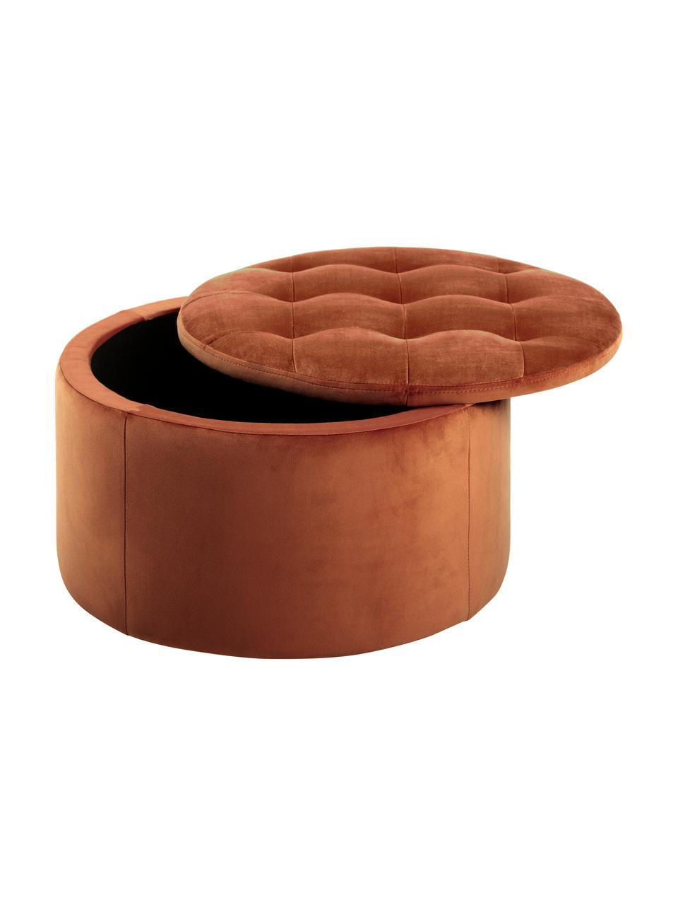 Pouf contenitore in velluto color terracotta Retina, Rivestimento: velluto di poliestere 25., Struttura: materiale sintetico, Rame, Ø 60 x Alt. 35 cm