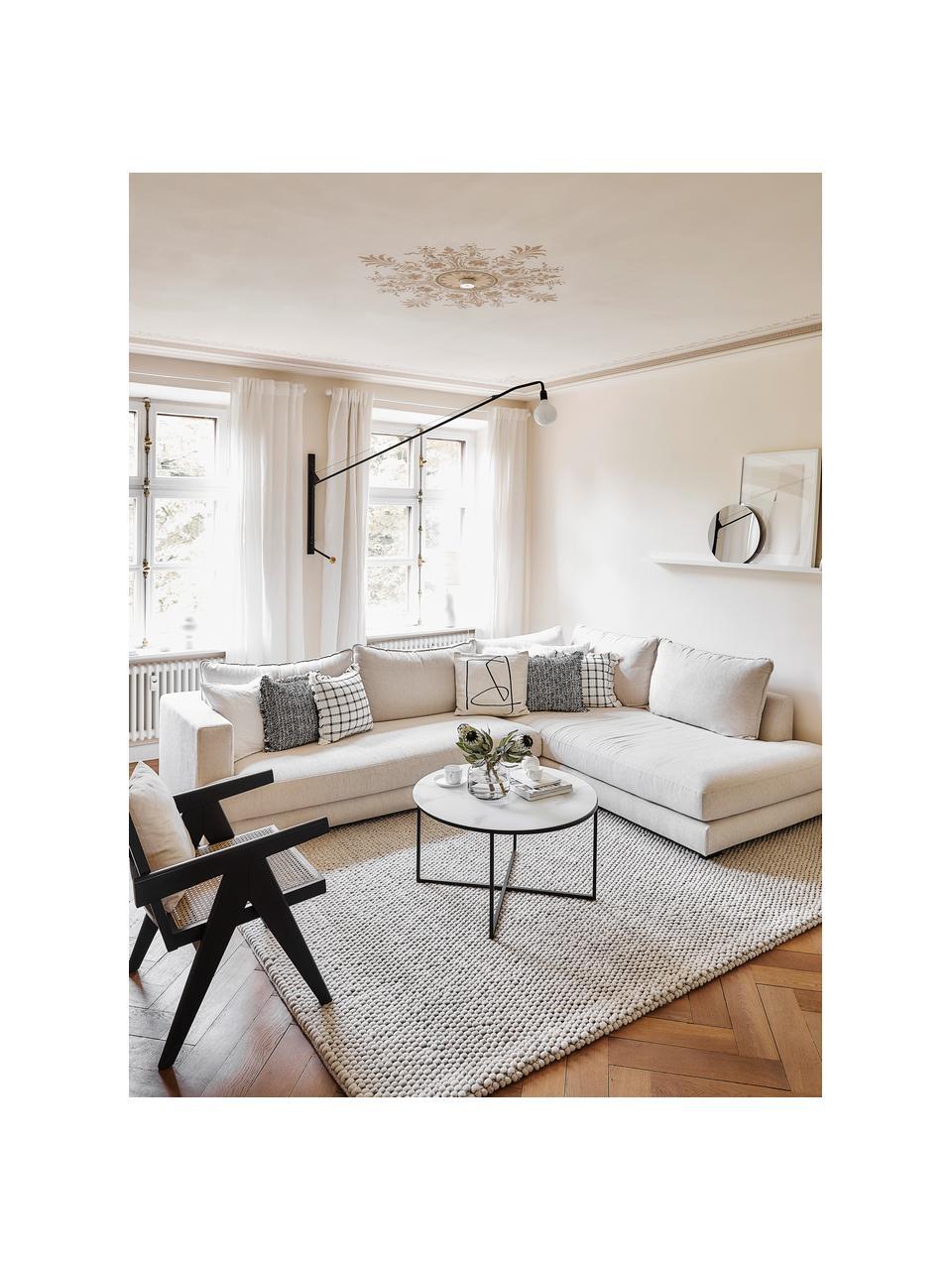 Grote hoekbank Tribeca in beige, Bekleding: polyester, Frame: massief grenenhout, Poten: massief gelakt beukenhout, Geweven stof beige, B 315 x D 228 cm