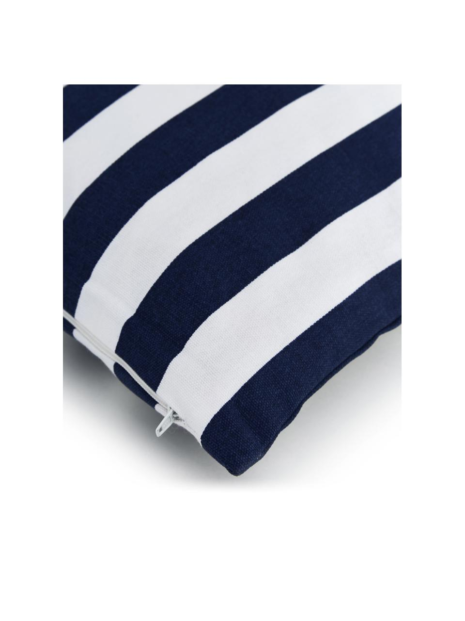 Gestreifte Kissenhülle Timon in Dunkelblau/Weiß, 100% Baumwolle, Dunkelblau, Weiß, 50 x 50 cm