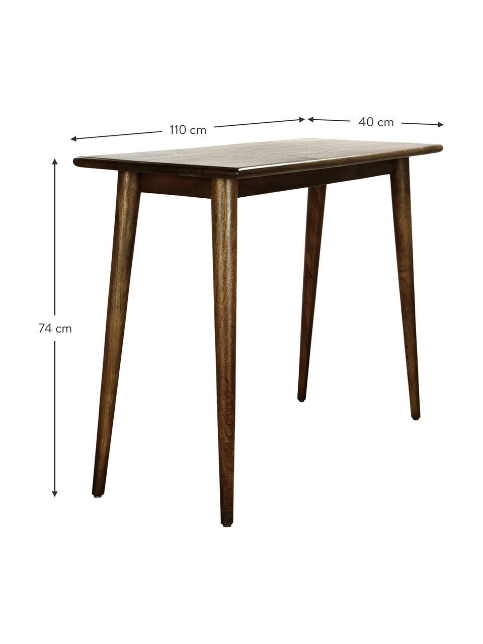 Konzolový stolík  z masívneho mangového dreva Oscar, Tmavohnedá