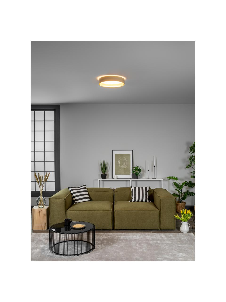 LED-Deckenleuchte Mallory in Taupe, Diffusorscheibe: Kunststoff, Taupe, Ø 41 x H 10 cm