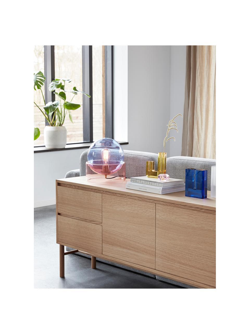 Lampada da tavolo in vetro colorato Glondy, Paralume: vetro, Base della lampada: vetro, Blu, rosa, Ø 27 x Alt. 29 cm