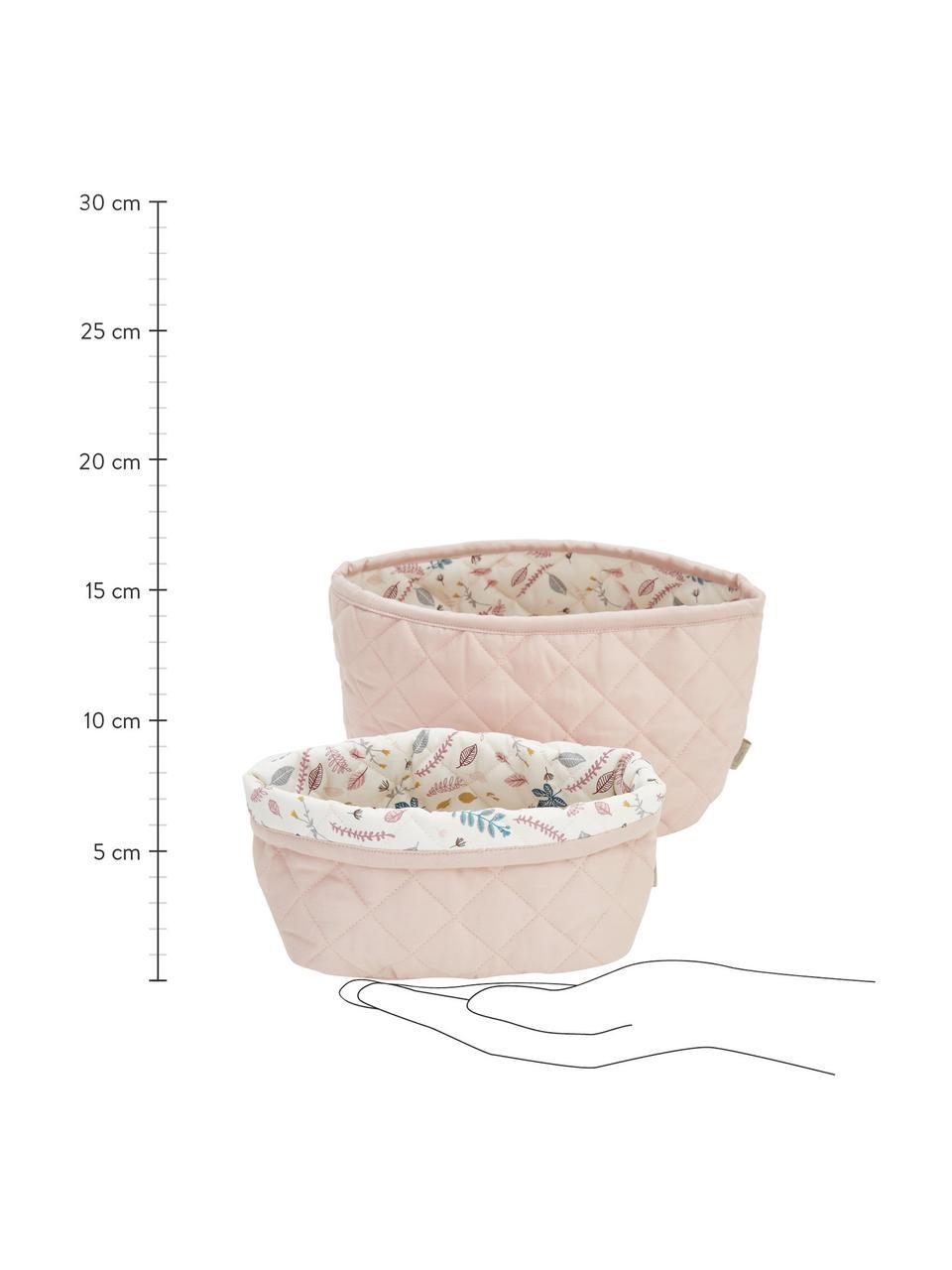 Aufbewahrungskörbe-Set Pressed Leaves aus Bio-Baumwolle, 2-tlg., Bezug: 100% Biobaumwolle, Öko-Te, Creme, Rosa, Blau, Grau, Sondergrößen