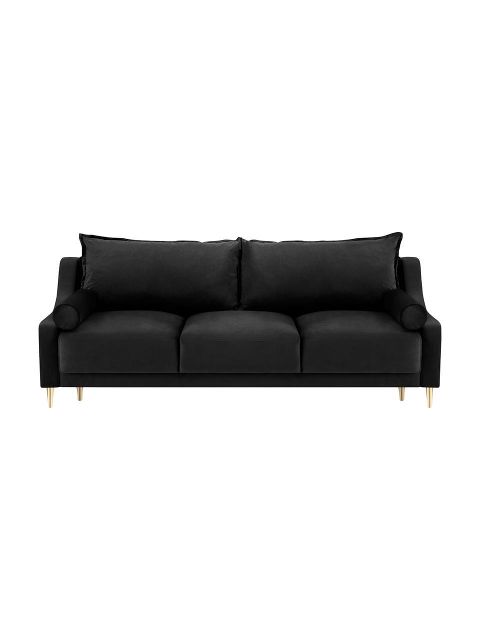 Sofa z aksamitu z funkcją spania i miejscem do przechowywania Lea (3-osobowa), Tapicerka: aksamit poliestrowy Dzięk, Nogi: metal malowany proszkowo, Czarny, S 215 x G 94 cm
