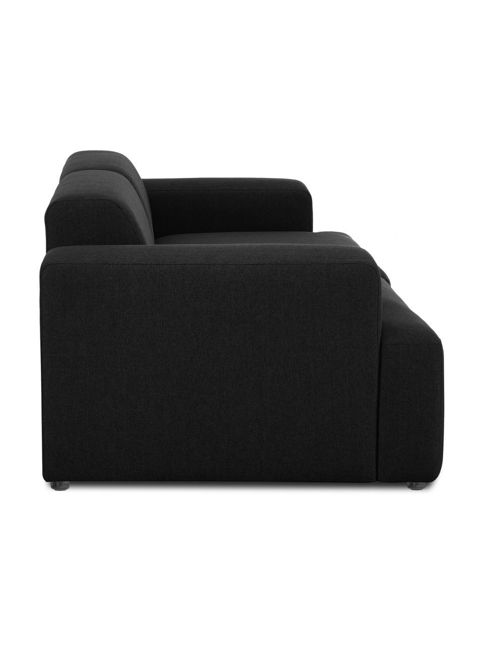 Bank Melva (3-zits) in zwart, Bekleding: 100% polyester De bekledi, Frame: massief grenenhout, FSC-g, Poten: kunststof, Geweven stof zwart, 238 x 101 cm
