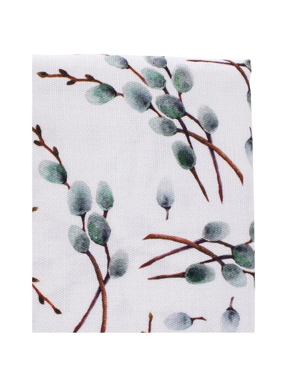 Obrus z bawełny Genevrier, Bawełna, Biały, szary, brązowy, Dla 4-6 osób (S 160 x D 160 cm)