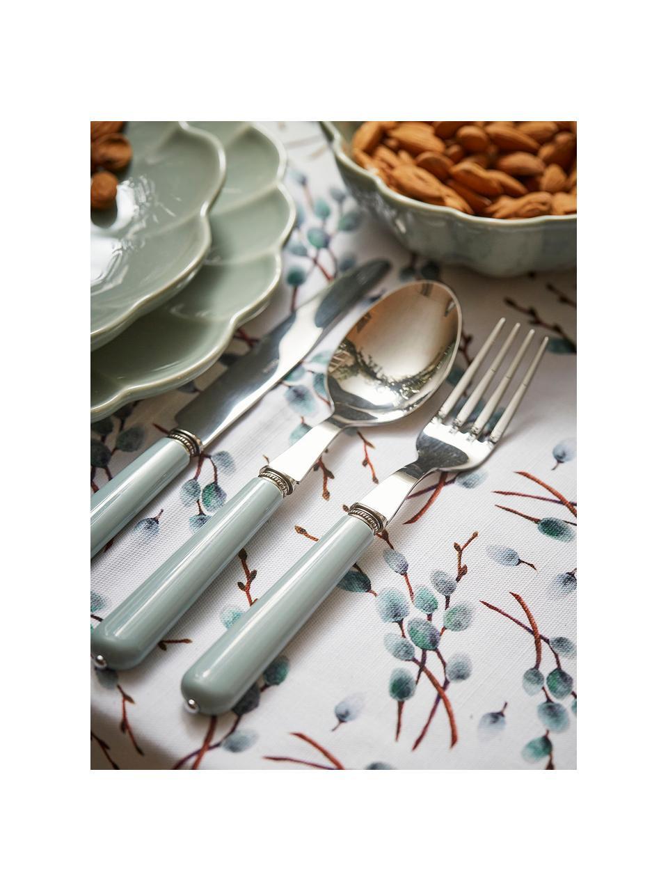 Baumwoll-Tischdecke Genevrier mit Zweigmotiven, 100% Baumwolle, Weiß, Grau, Braun, Für 4 - 6 Personen (B 160 x L 160 cm)